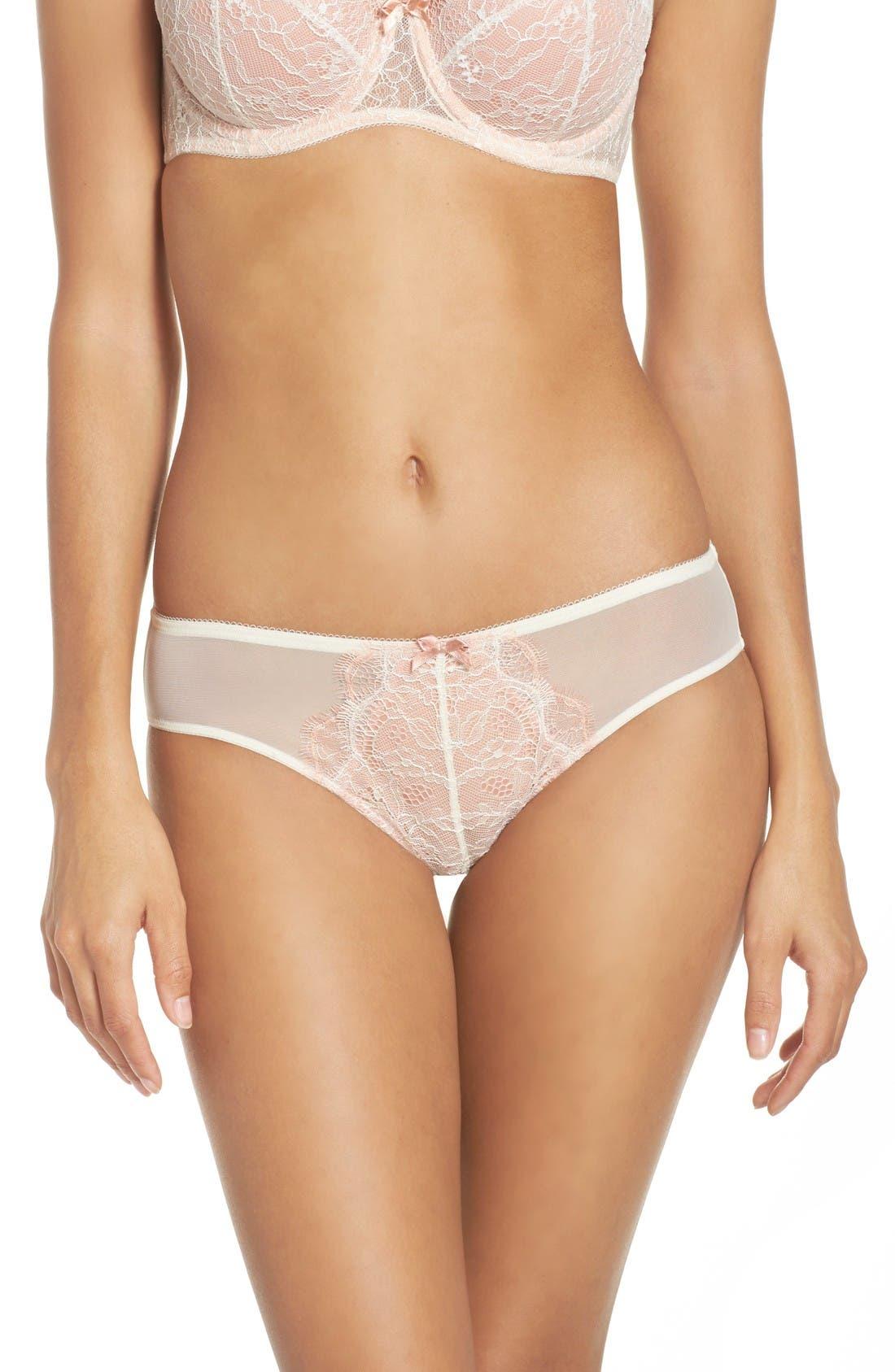 'B Sultry' Bikini,                             Main thumbnail 1, color,                             Vanilla Ice/ Peach Beige