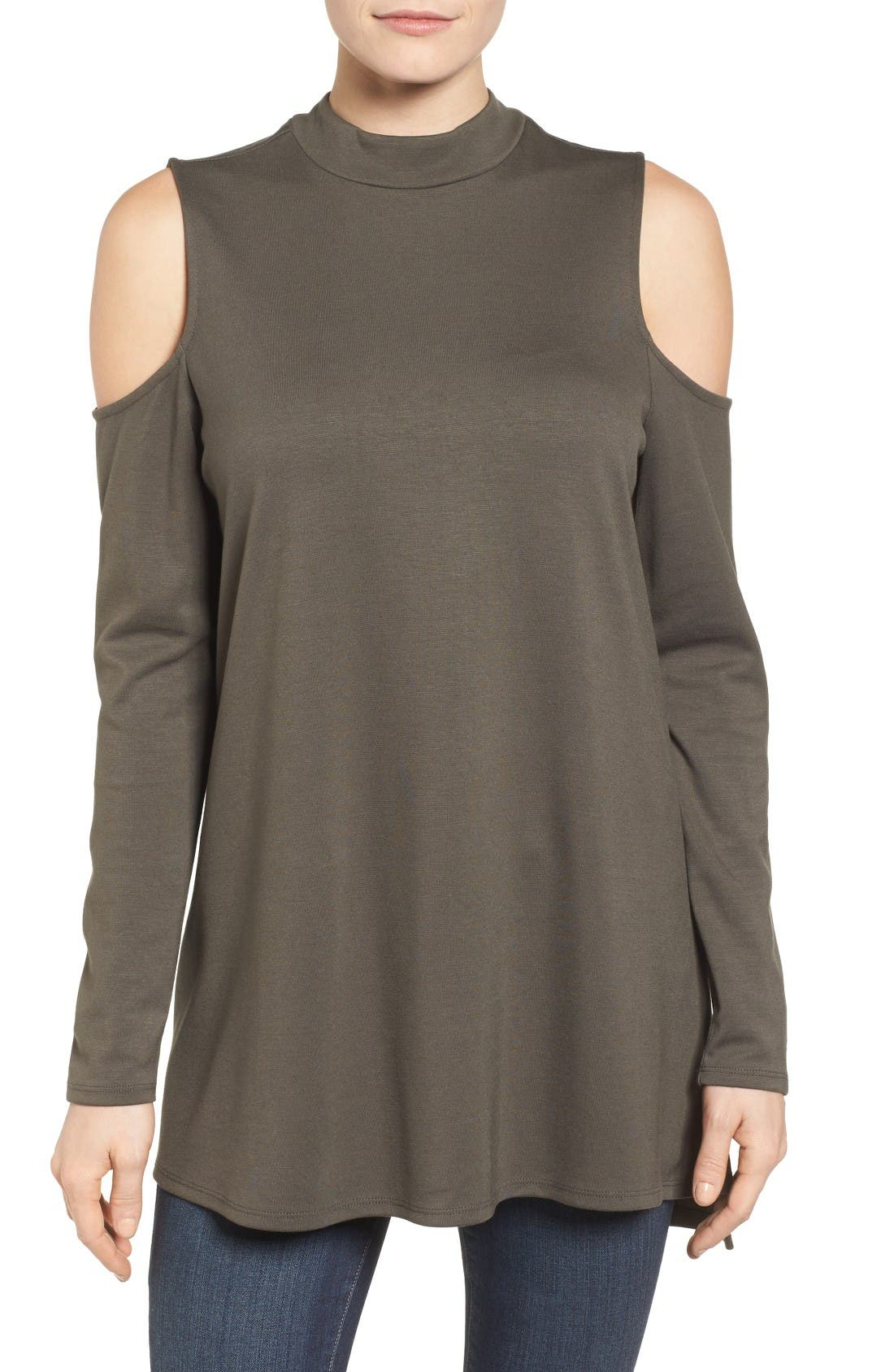 Jersey Cold Shoulder Tunic,                             Main thumbnail 1, color,                             Olive