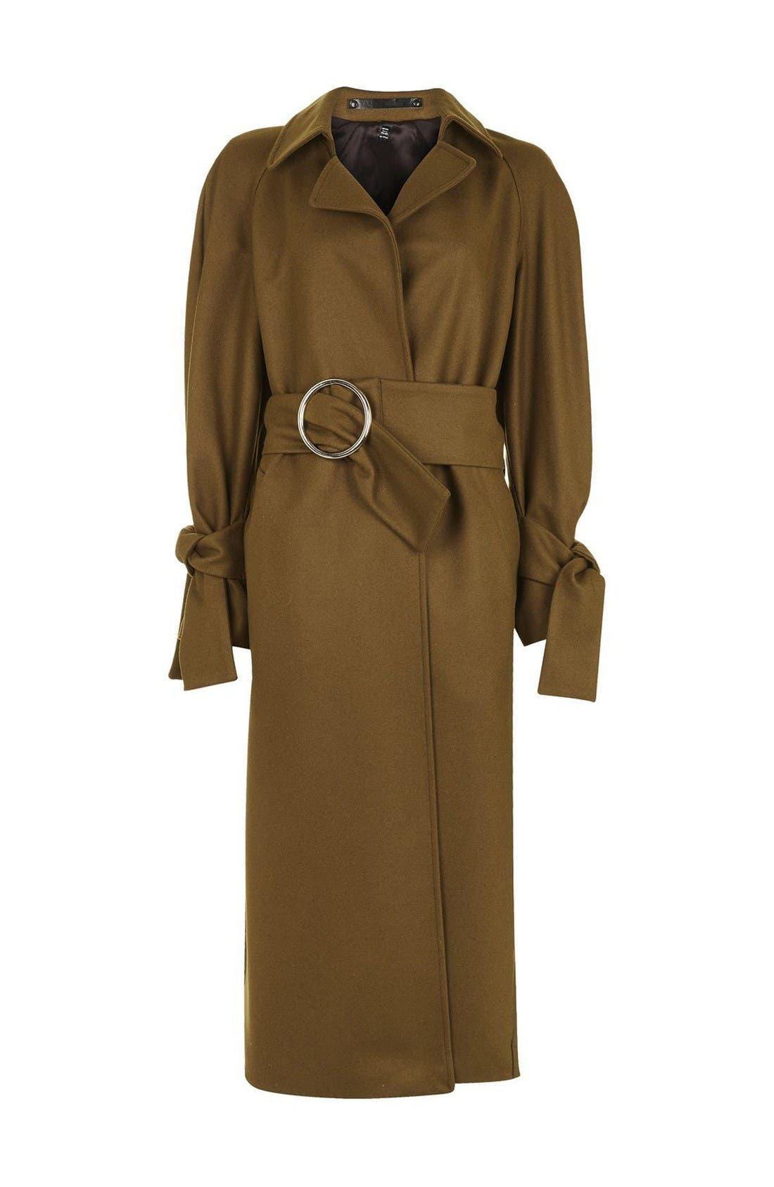 Alternate Image 5  - Topshop Boutique Tie Sleeve Wool Coat