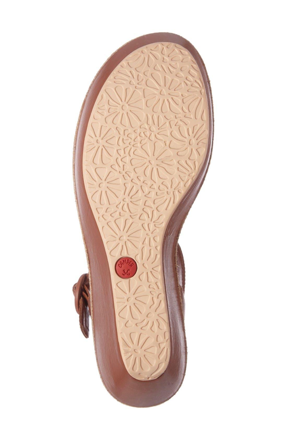 'Damas' Wedge Sandal,                             Alternate thumbnail 4, color,                             Brown Leather