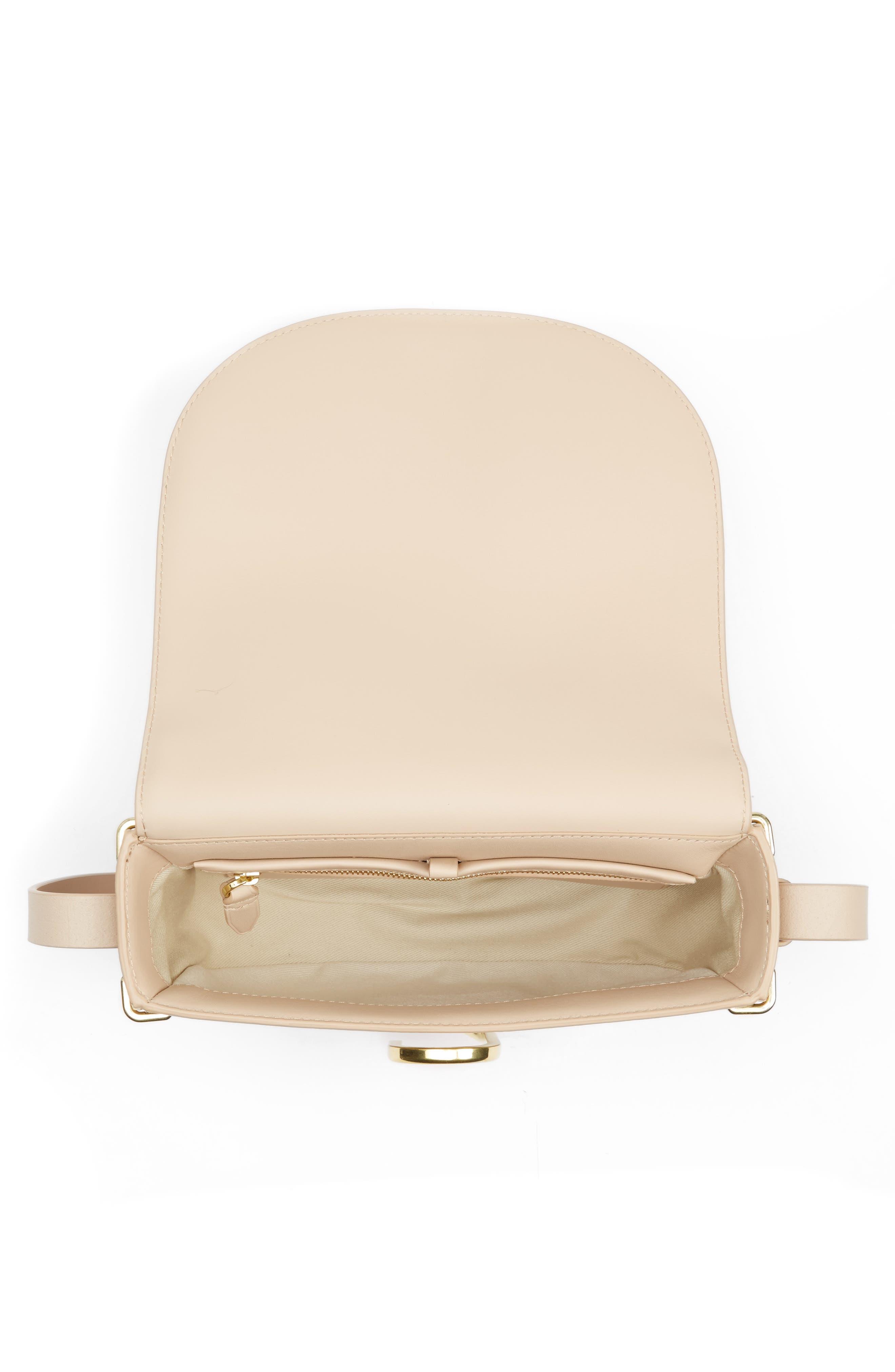 Alix Leather Saddle Bag,                             Alternate thumbnail 3, color,                             Cashew/ Gold