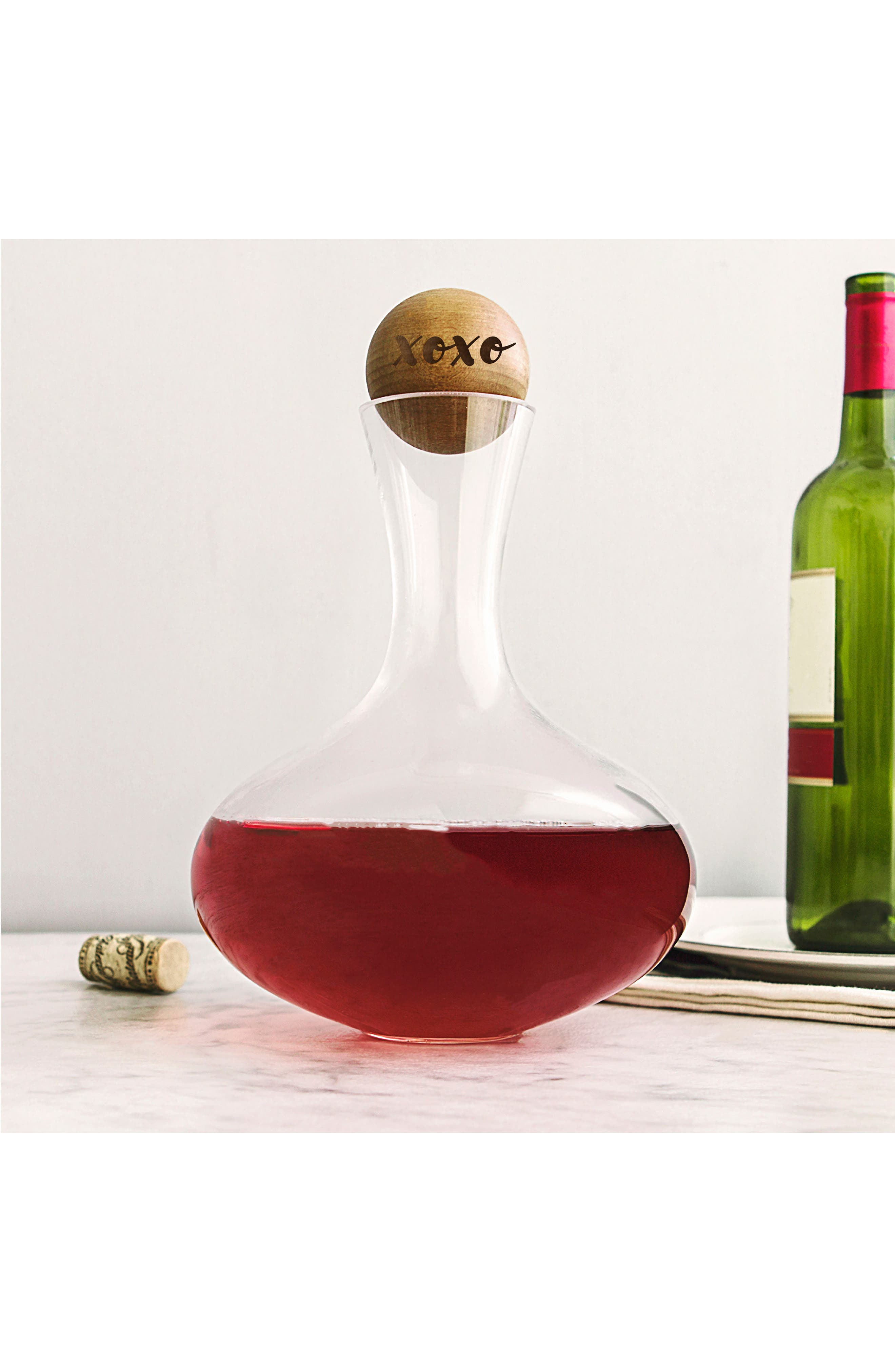 Cathy's Concept XOXO Wine Decanter,                             Main thumbnail 1, color,                             Clear