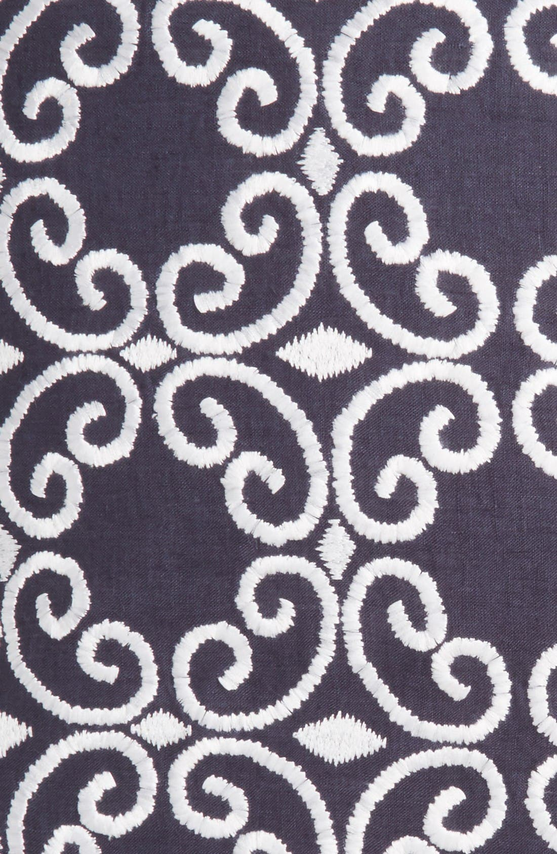 folk art medallion euro sham,                             Alternate thumbnail 3, color,                             Navy