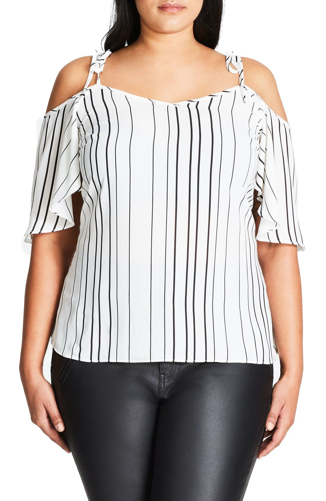 CITY CHIC Uneven Stripe Cold Shoulder Top