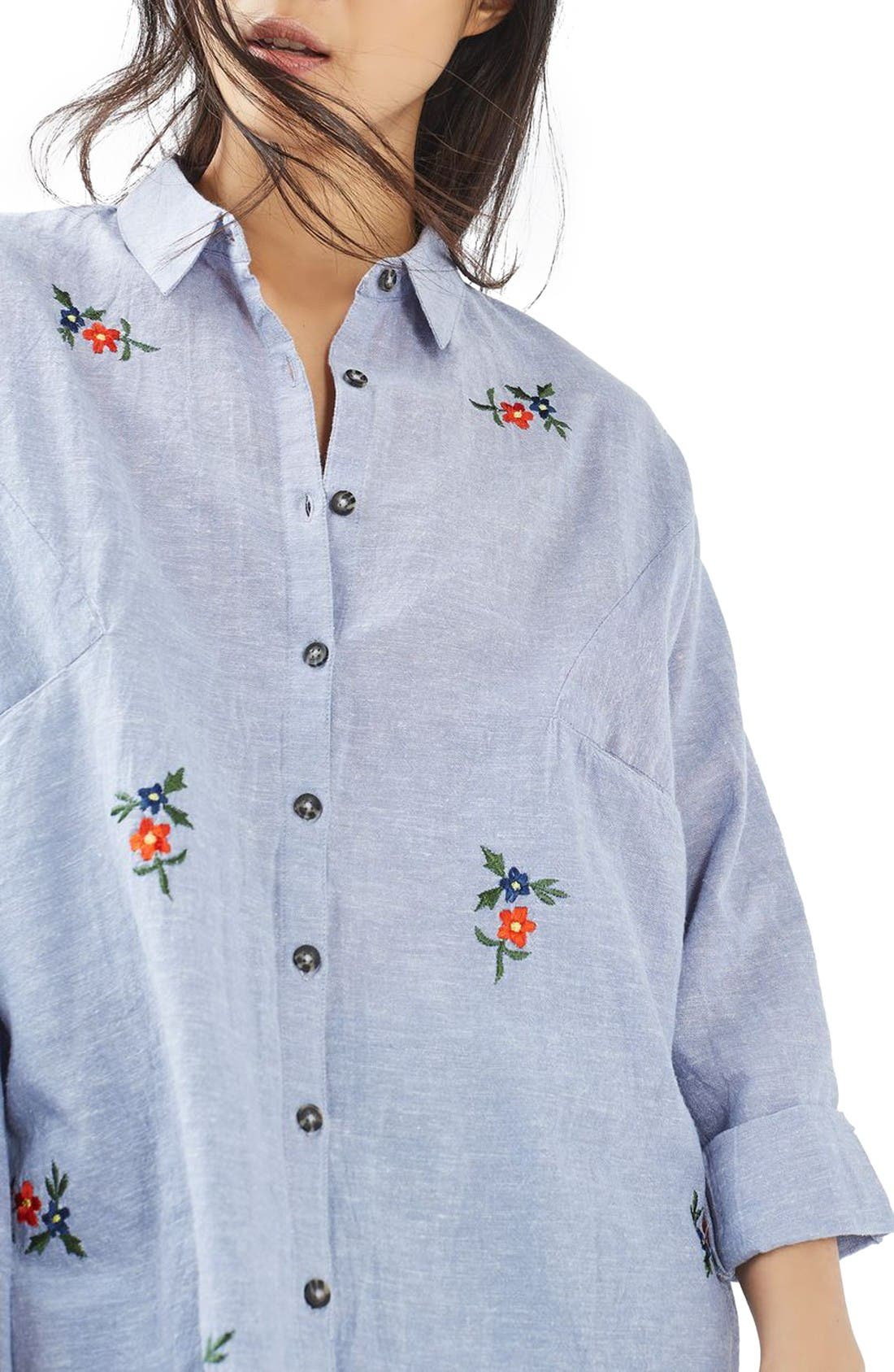 Embroidered Shirt,                         Main,                         color, Blue Multi