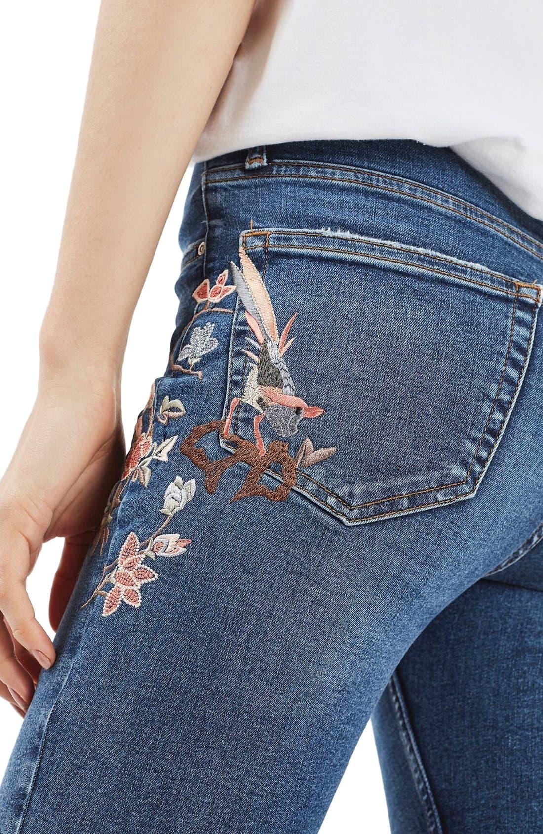 Moto Jamie Embroidered Skinny Jeans,                             Alternate thumbnail 5, color,                             Mid Denim