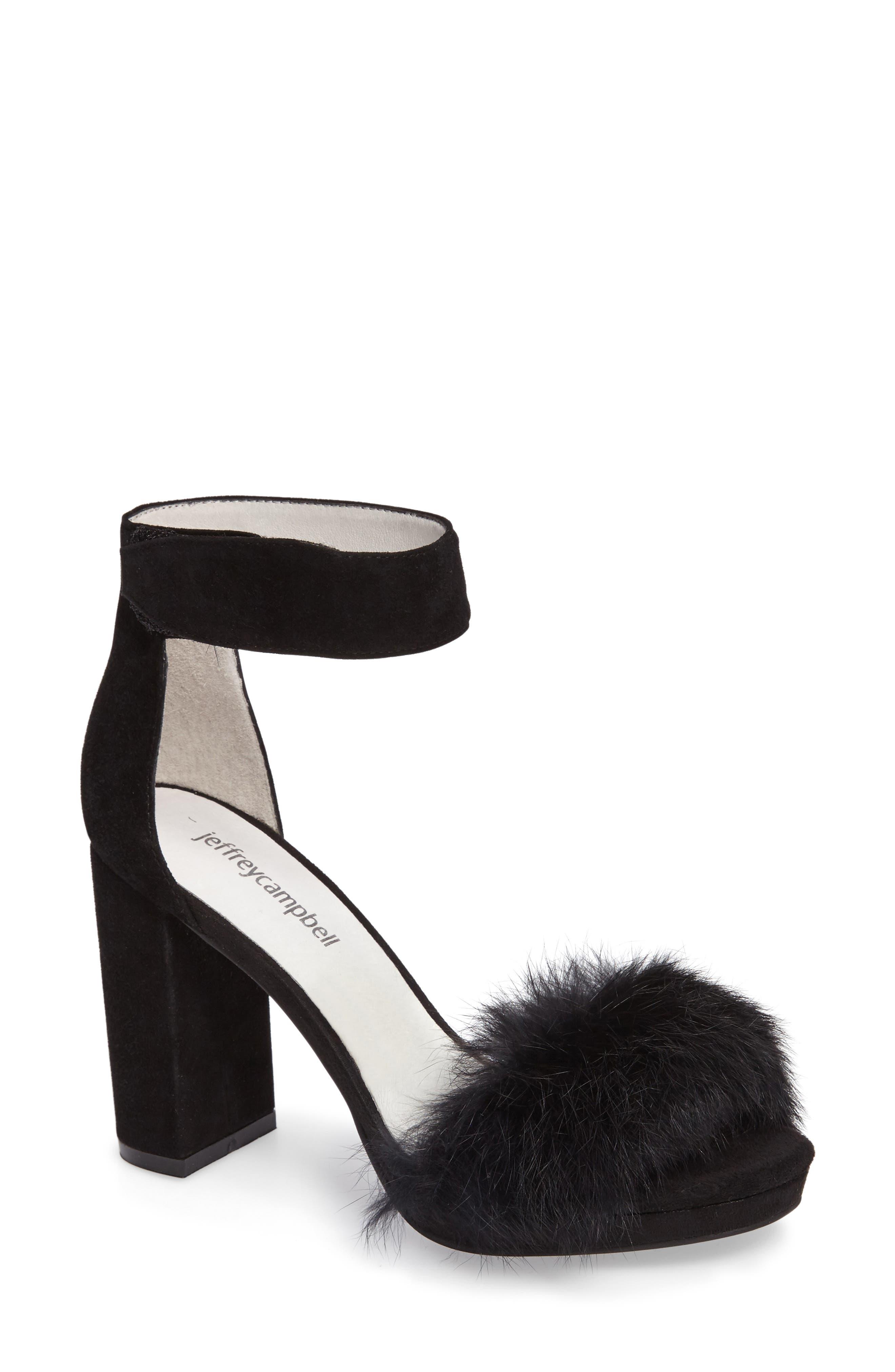 Jeffrey Campbell Lindsay Genuine Rabbit Fur Sandal (Women)