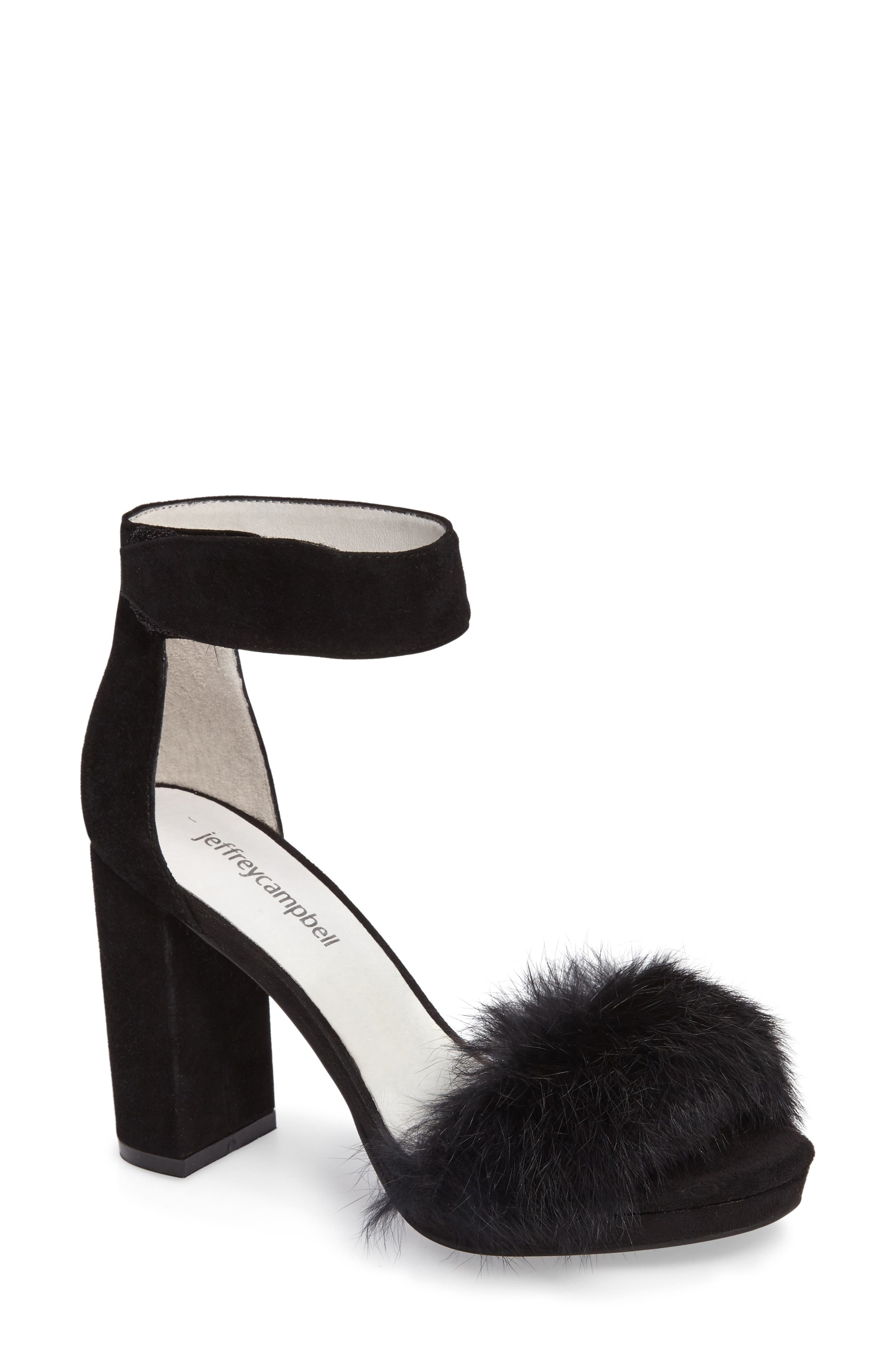 Jeffrey Campbell Lindsay Genuine Rabbit Fur Sandal (Women)