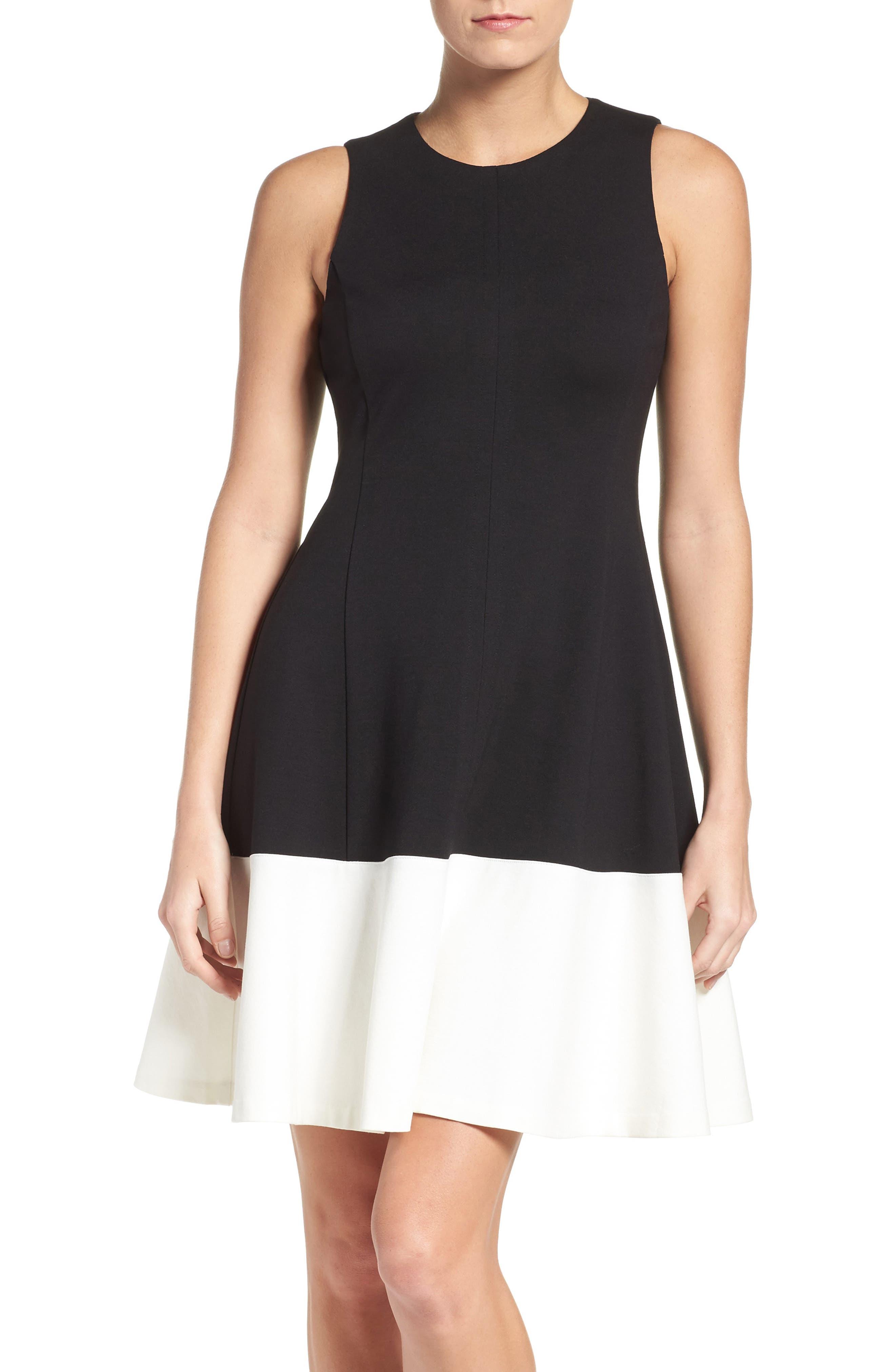 Main Image - Eliza J Colorblock Hem Fit & Flare Dress (Regular & Petite)
