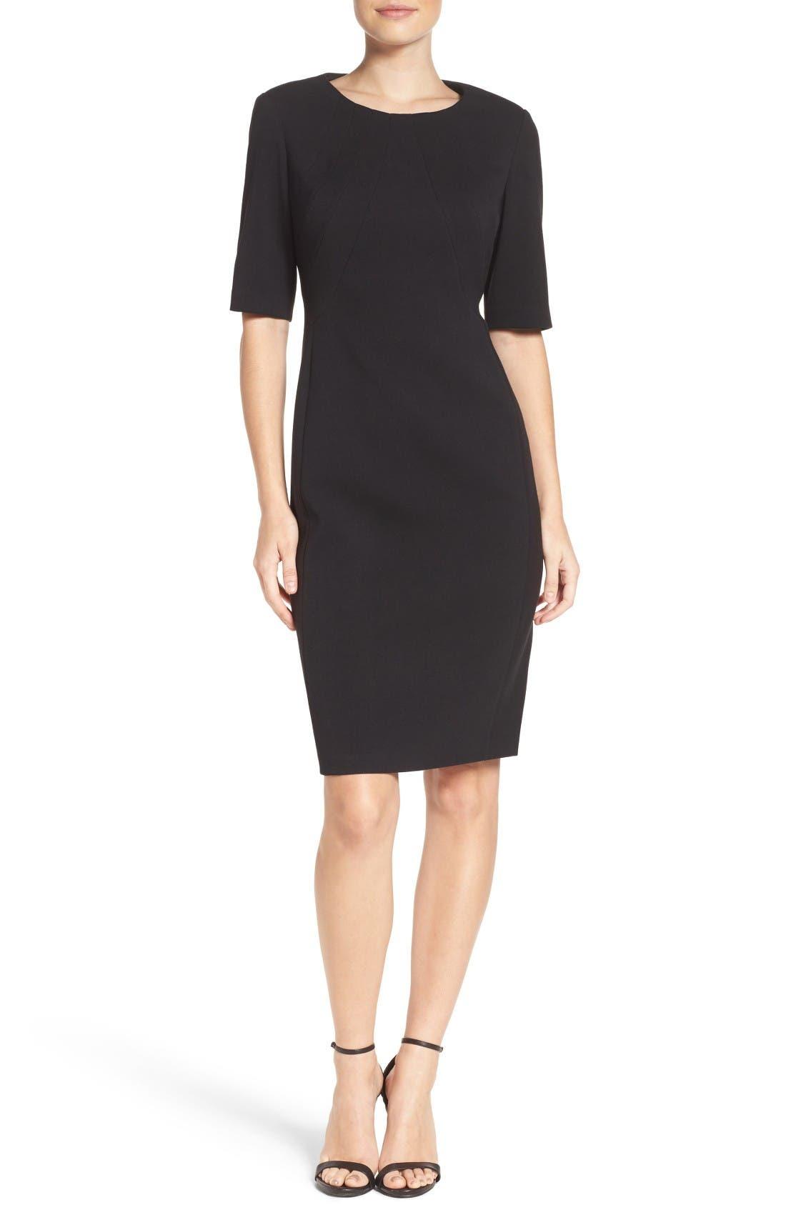 Crepe Sheath Dress,                             Alternate thumbnail 5, color,                             Black
