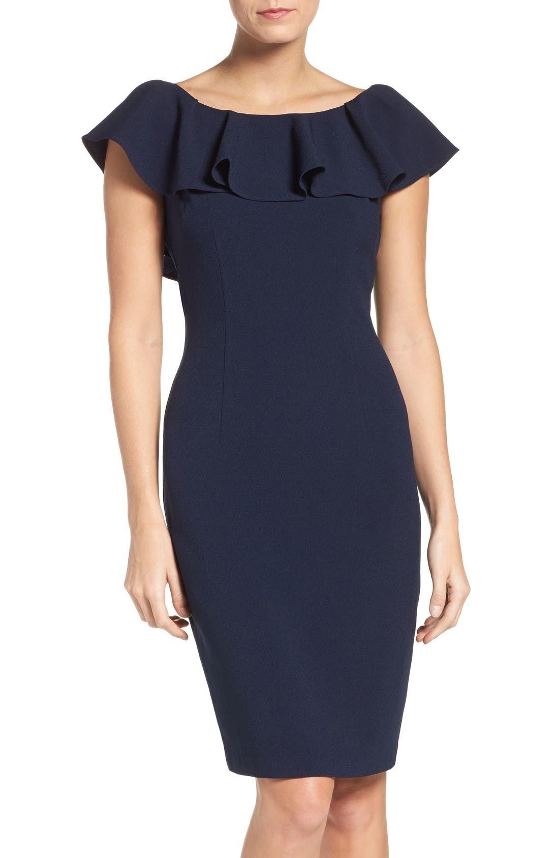 Ruffle Sheath Dress,                             Main thumbnail 1, color,                             Navy