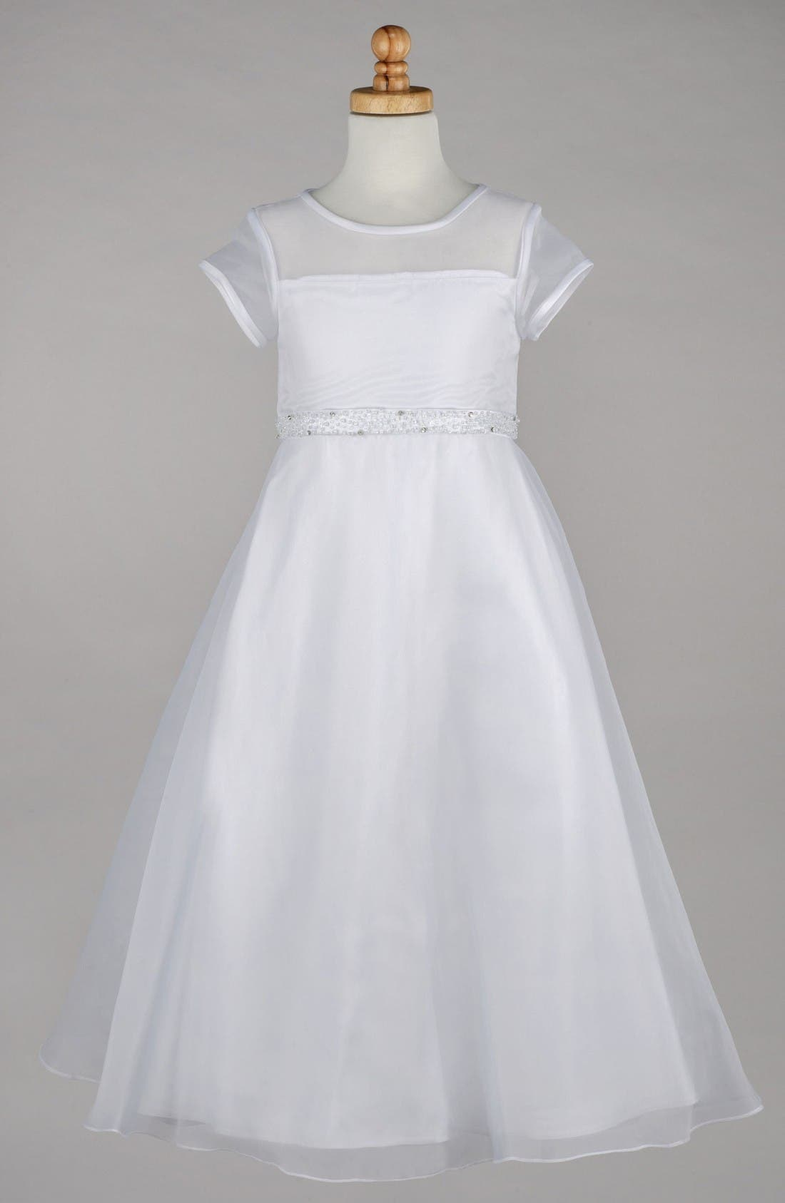 Beaded A-Line First Communion Dress,                             Main thumbnail 1, color,                             White