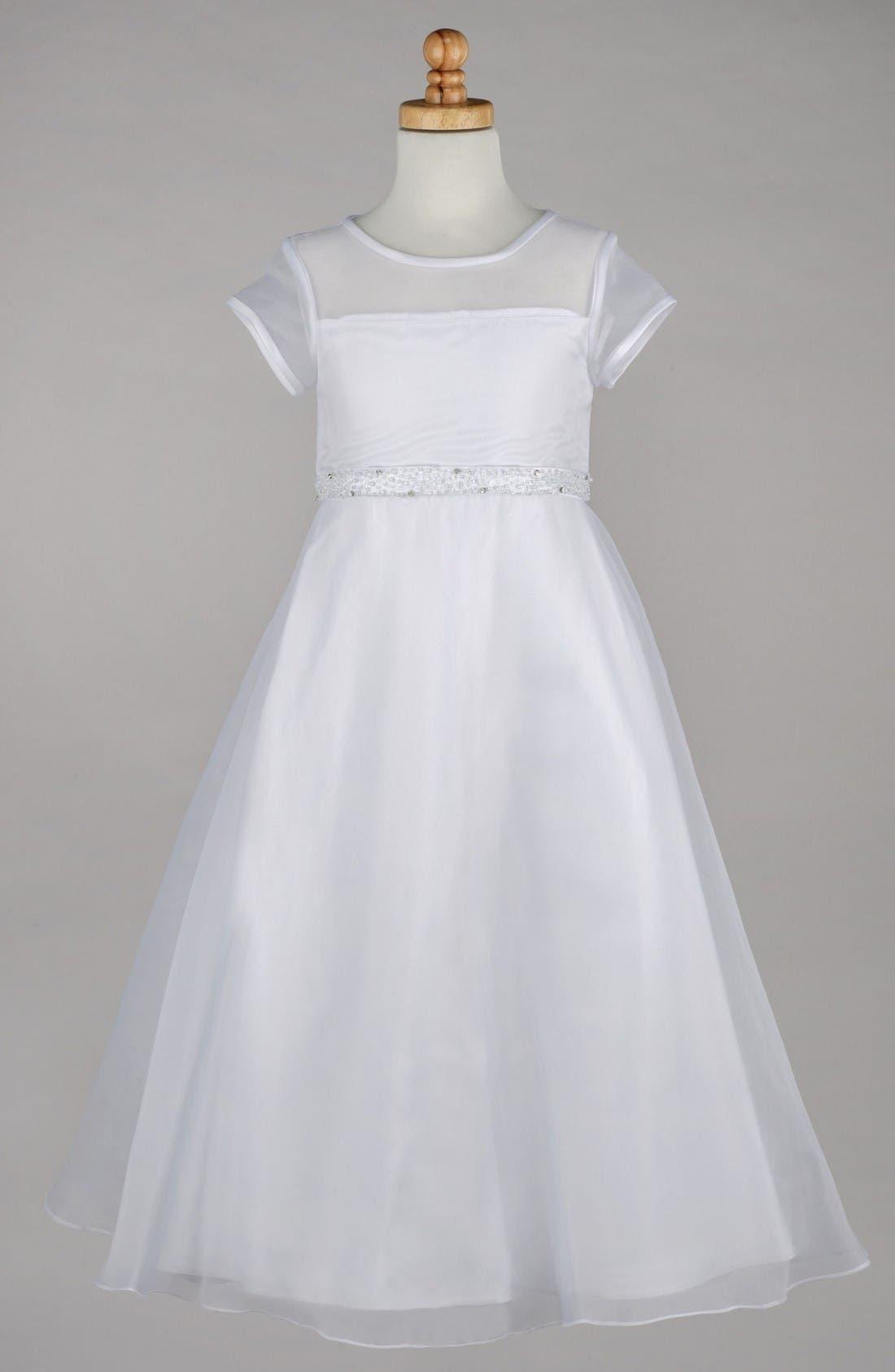 Main Image - Lauren Marie Beaded A-Line First Communion Dress (Little Girls & Big Girls)