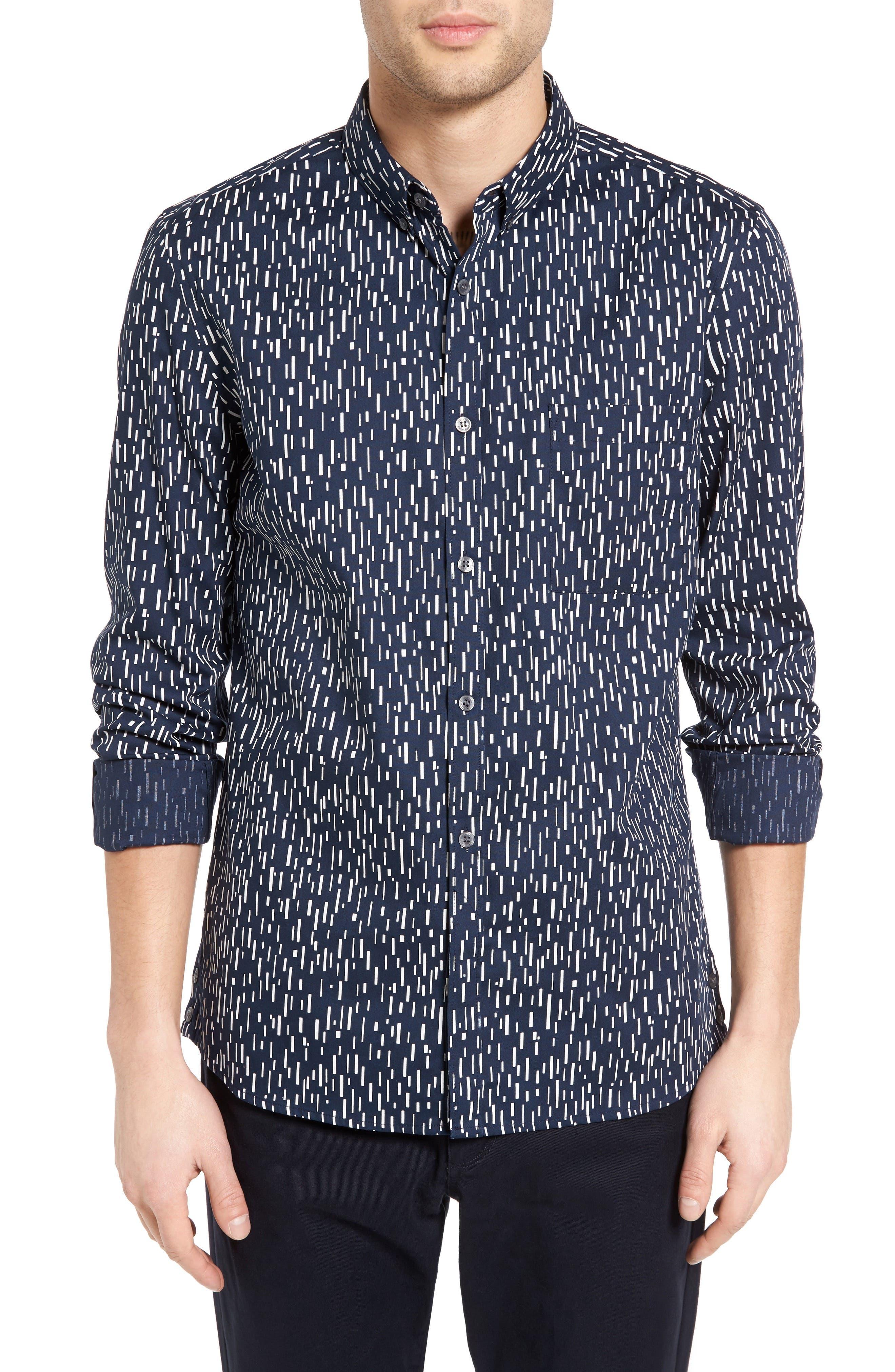 Rain Dash Slim Fit Oxford Shirt,                             Main thumbnail 1, color,                             Marine Blue/ White