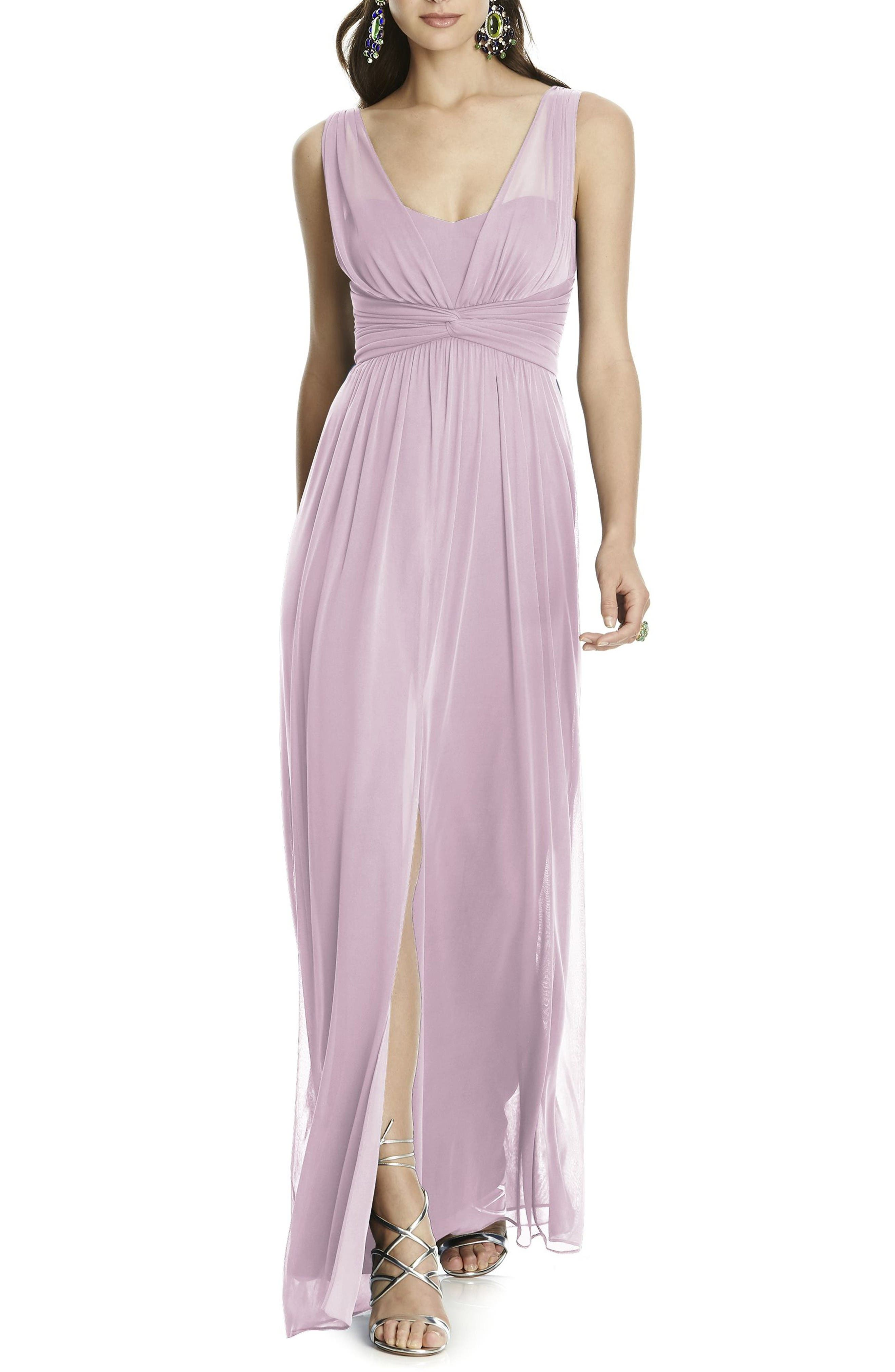 Illusion Sleeve Chiffon Column Gown,                             Main thumbnail 1, color,                             Suede Rose