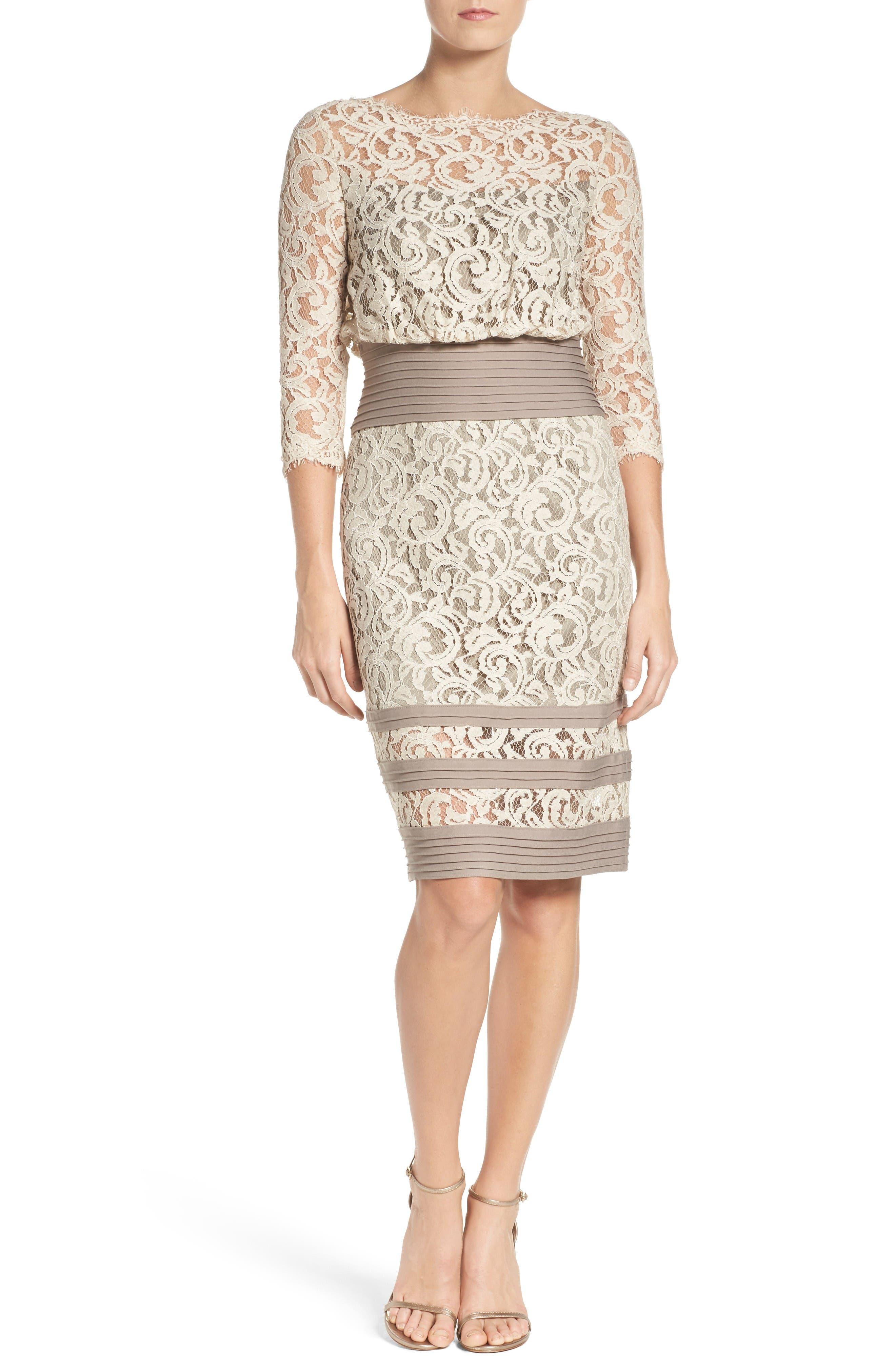 Alternate Image 3  - Tadashi Shoji Pleat Waist Lace Blouson Dress