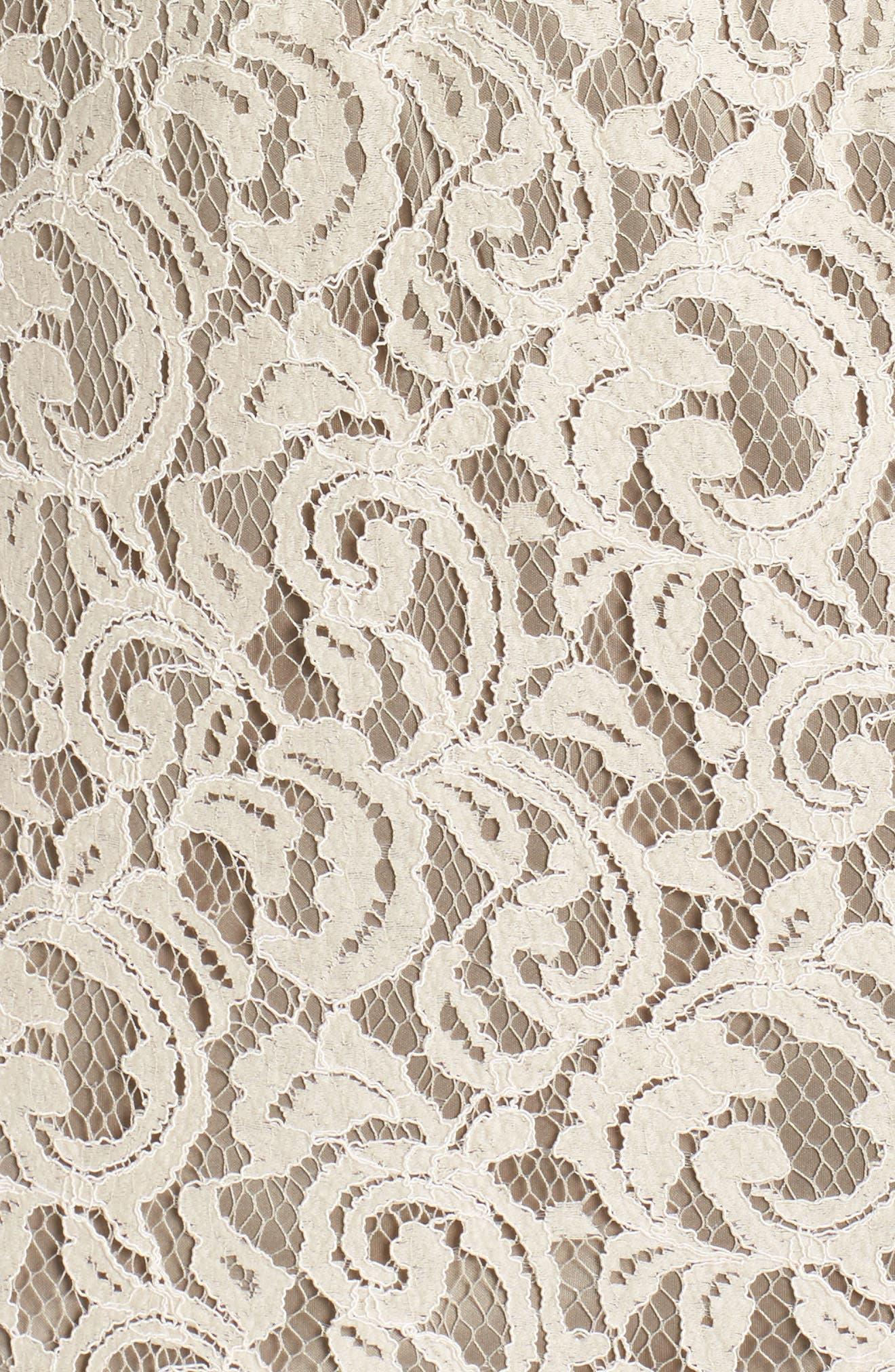Alternate Image 6  - Tadashi Shoji Pleat Waist Lace Blouson Dress