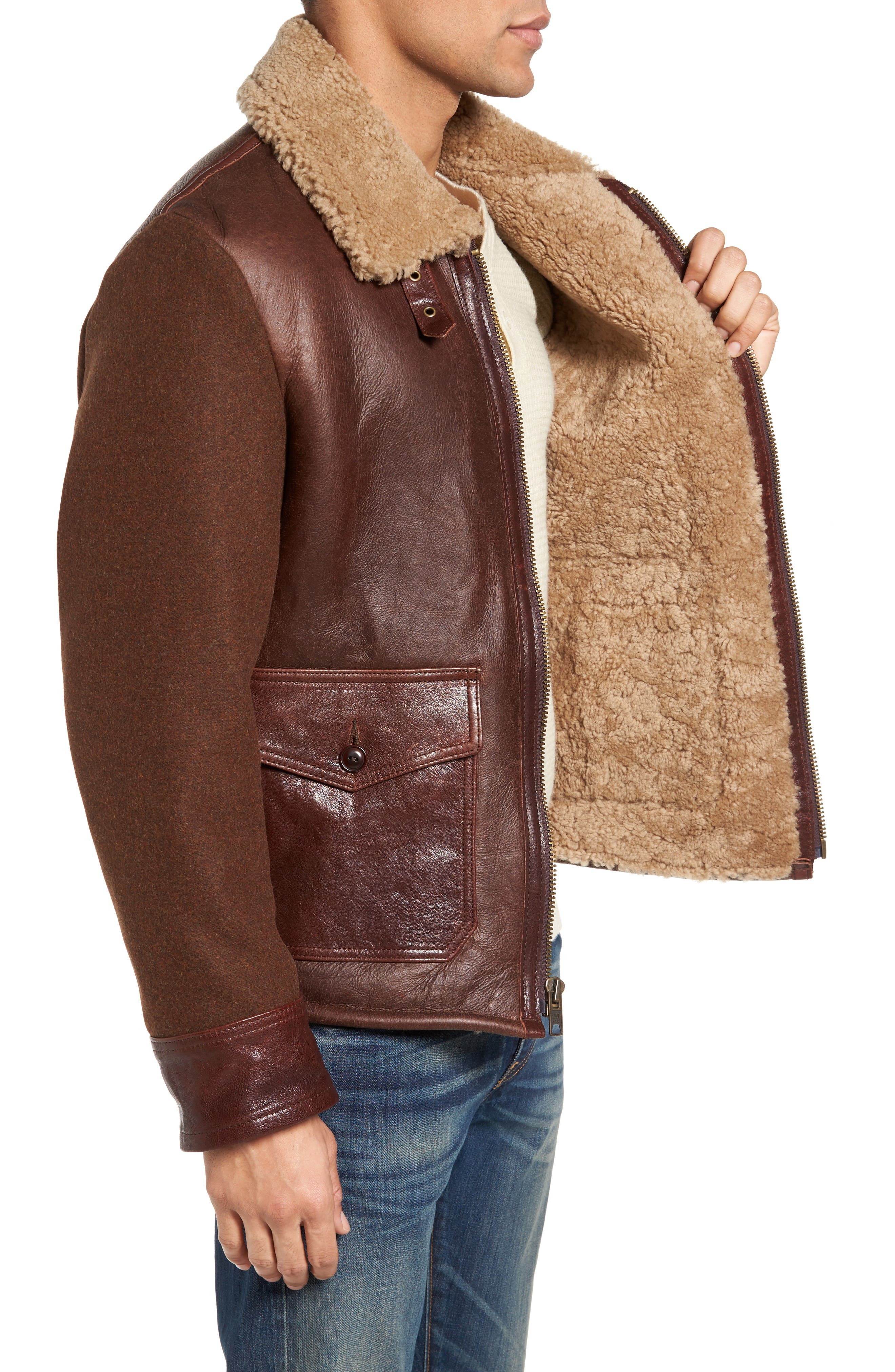 Mixed Media Flight Jacket with Genuine Shearling Collar & Lining,                             Alternate thumbnail 3, color,                             Brown