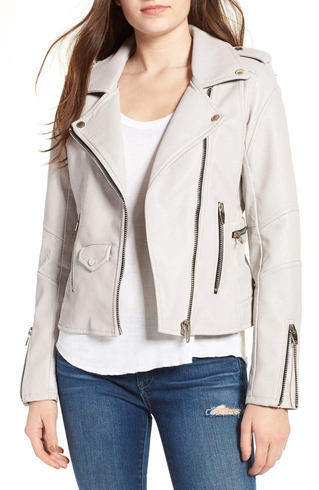 'Easy Rider' Faux Leather Moto Jacket,                             Main thumbnail 1, color,                             Bend And Snap Grey