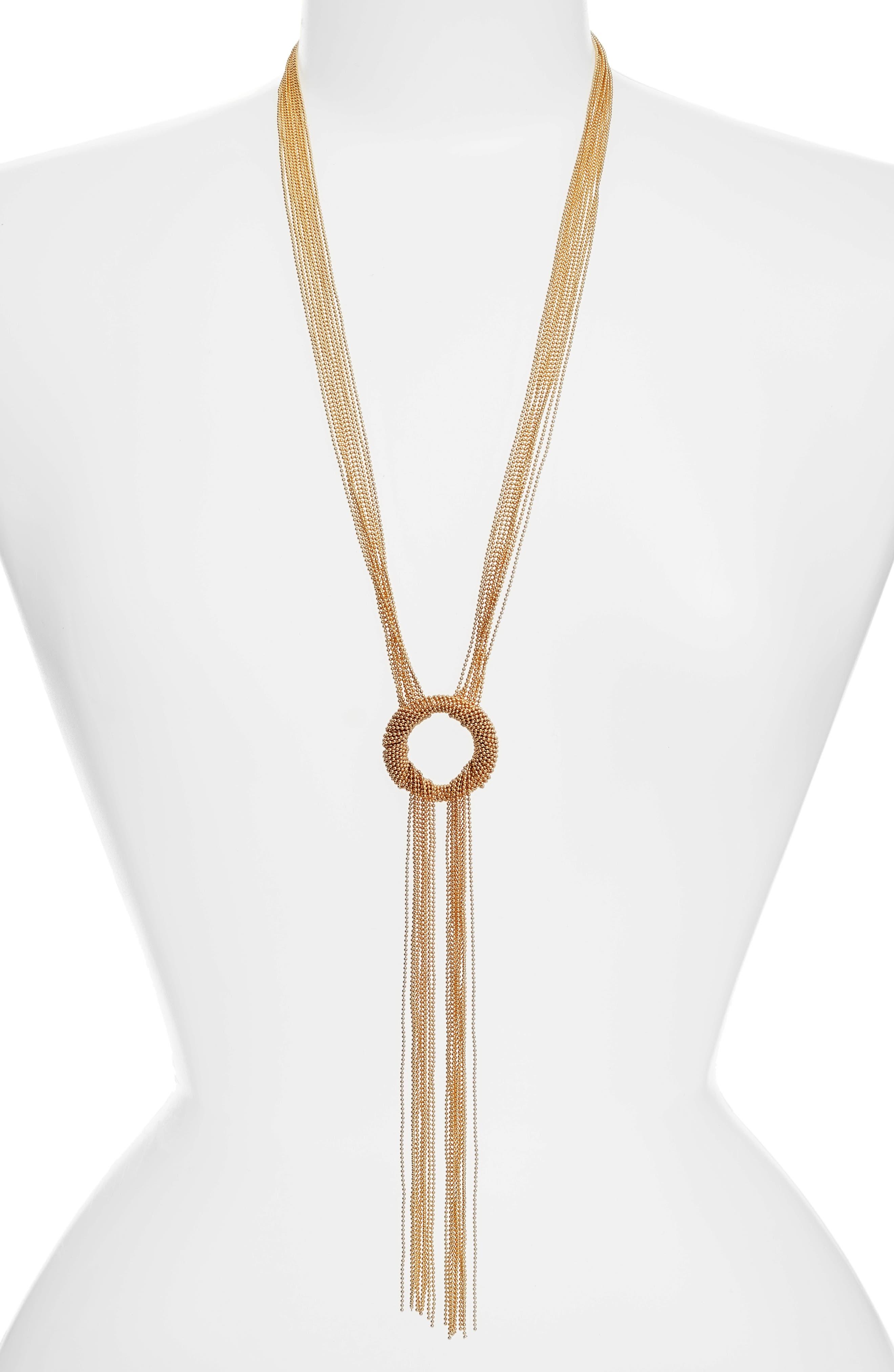 Jade Tassel Y-Necklace,                         Main,                         color, Gold