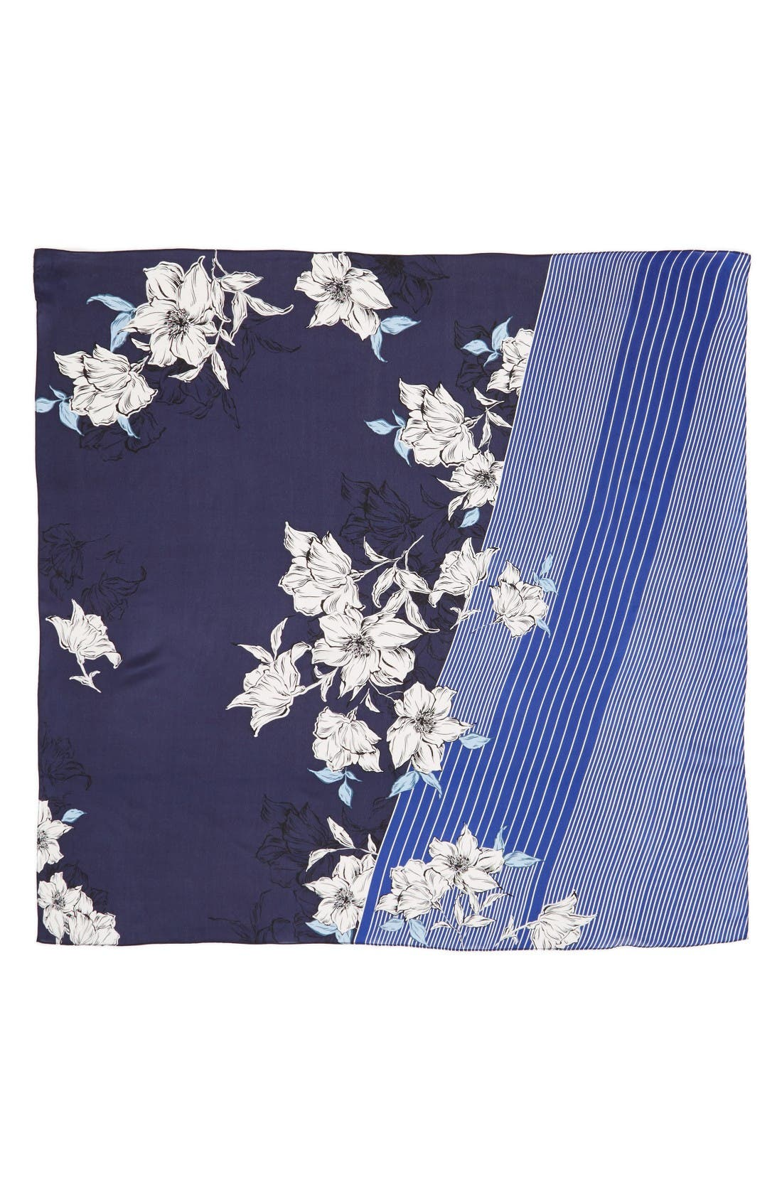 Metro Floral Square Silk Scarf,                             Alternate thumbnail 2, color,                             Navy- Combo