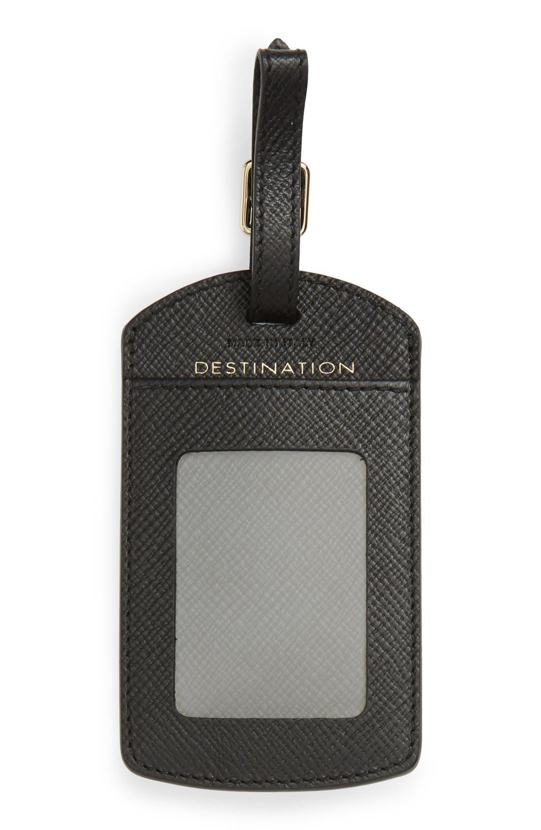 Panama Home/Destination Calfskin Leather Luggage Label,                             Alternate thumbnail 2, color,                             Black