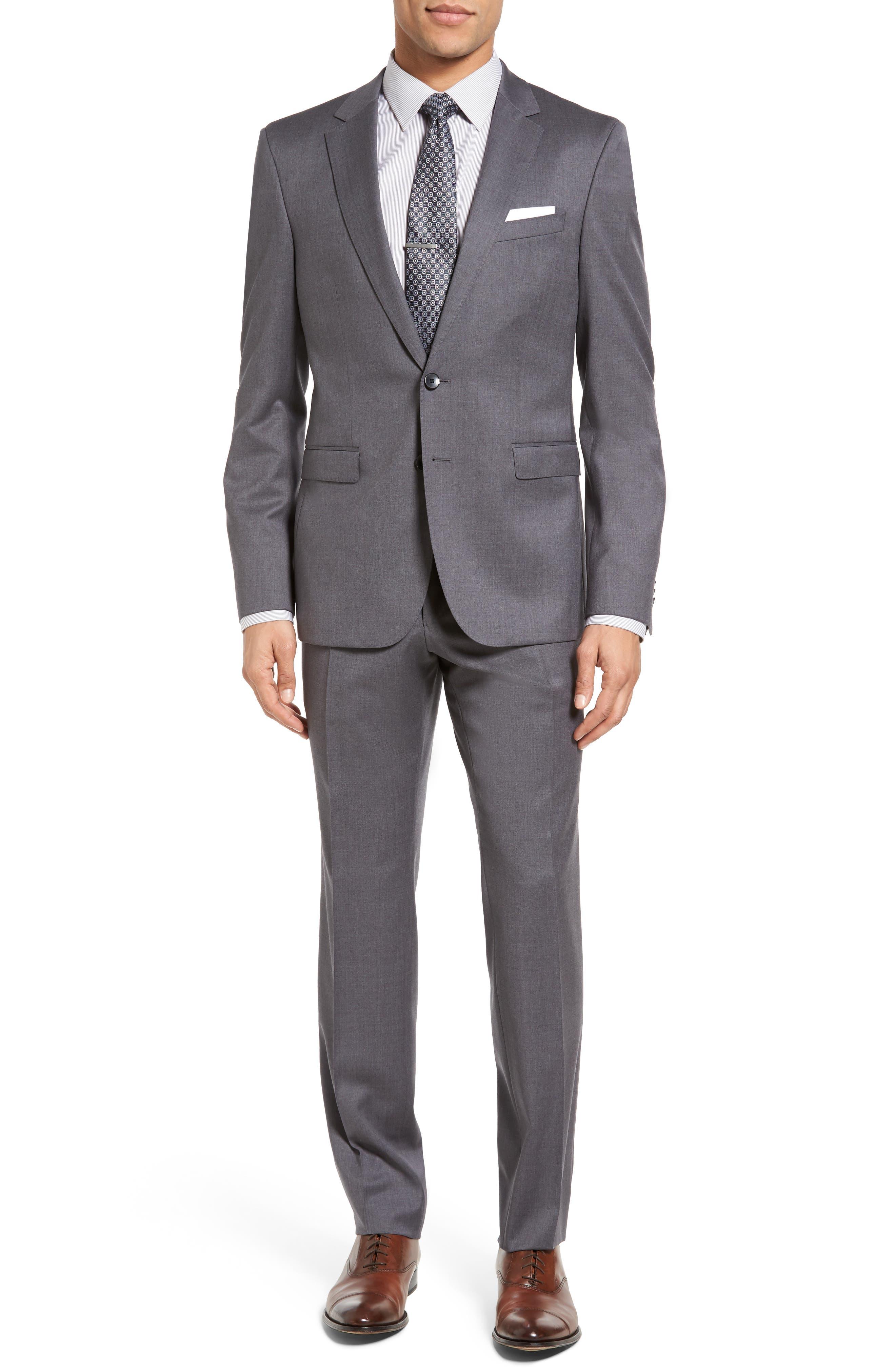 Main Image - BOSS Ryan/Win Trim Fit Solid Wool Suit