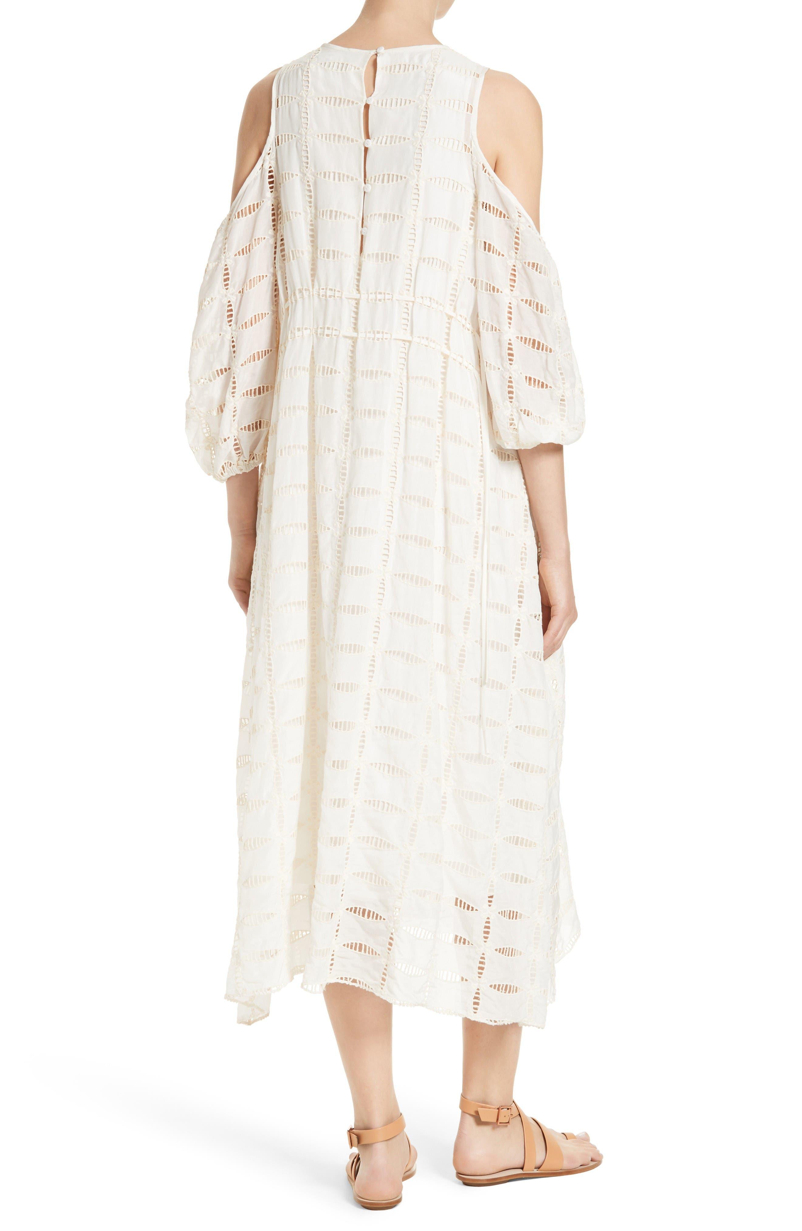 Alternate Image 2  - Tibi Luca Cold Shoulder Eyelet Midi Dress