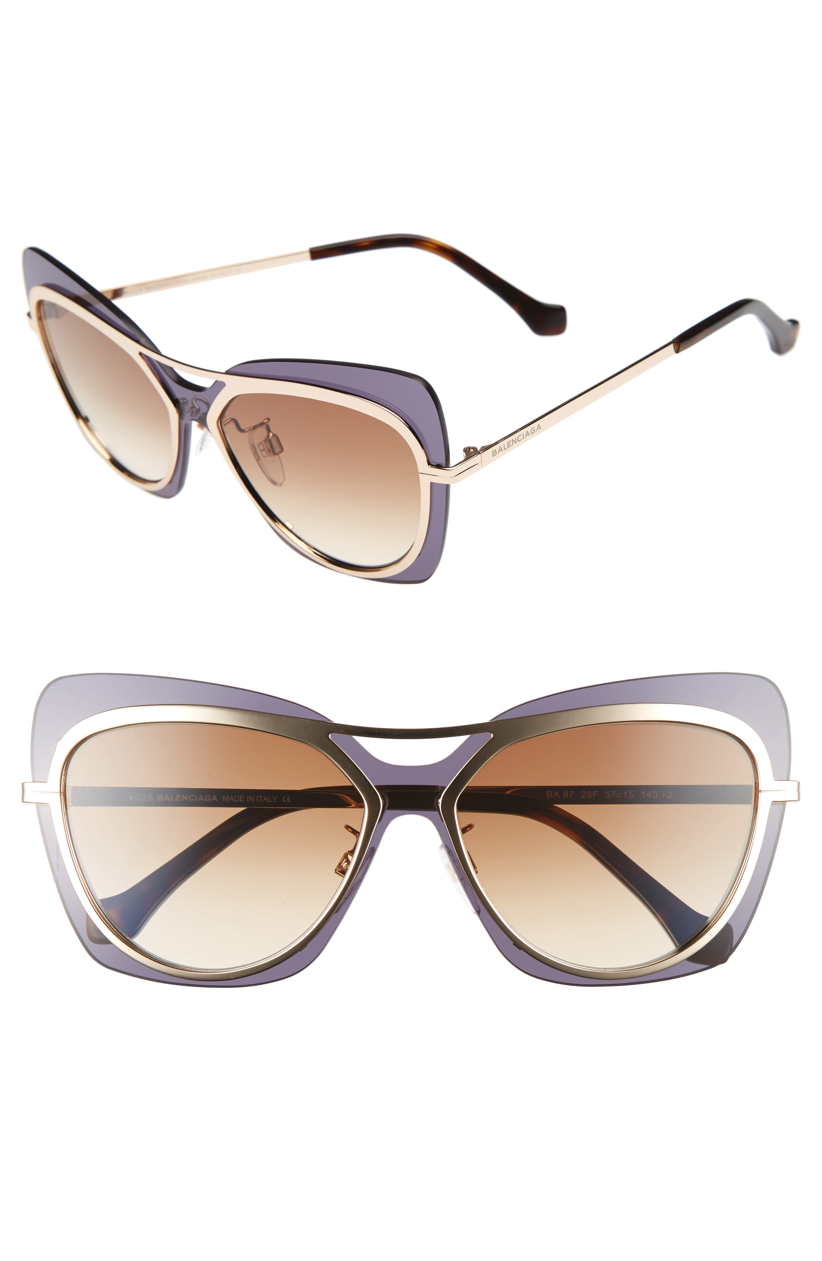 57mm Layered Butterfly Sunglasses,                             Main thumbnail 1, color,                             Rose Gold/ Havana/ Brown