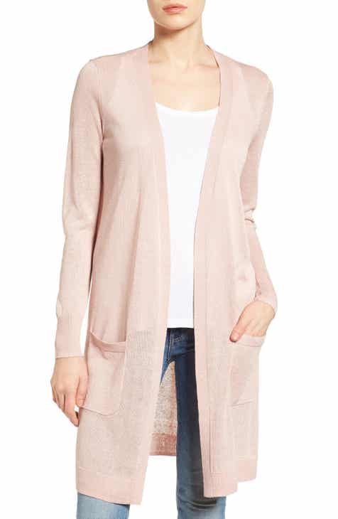 Halogen® Long Linen Blend Cardigan (Regular   Petite) 4400a4955
