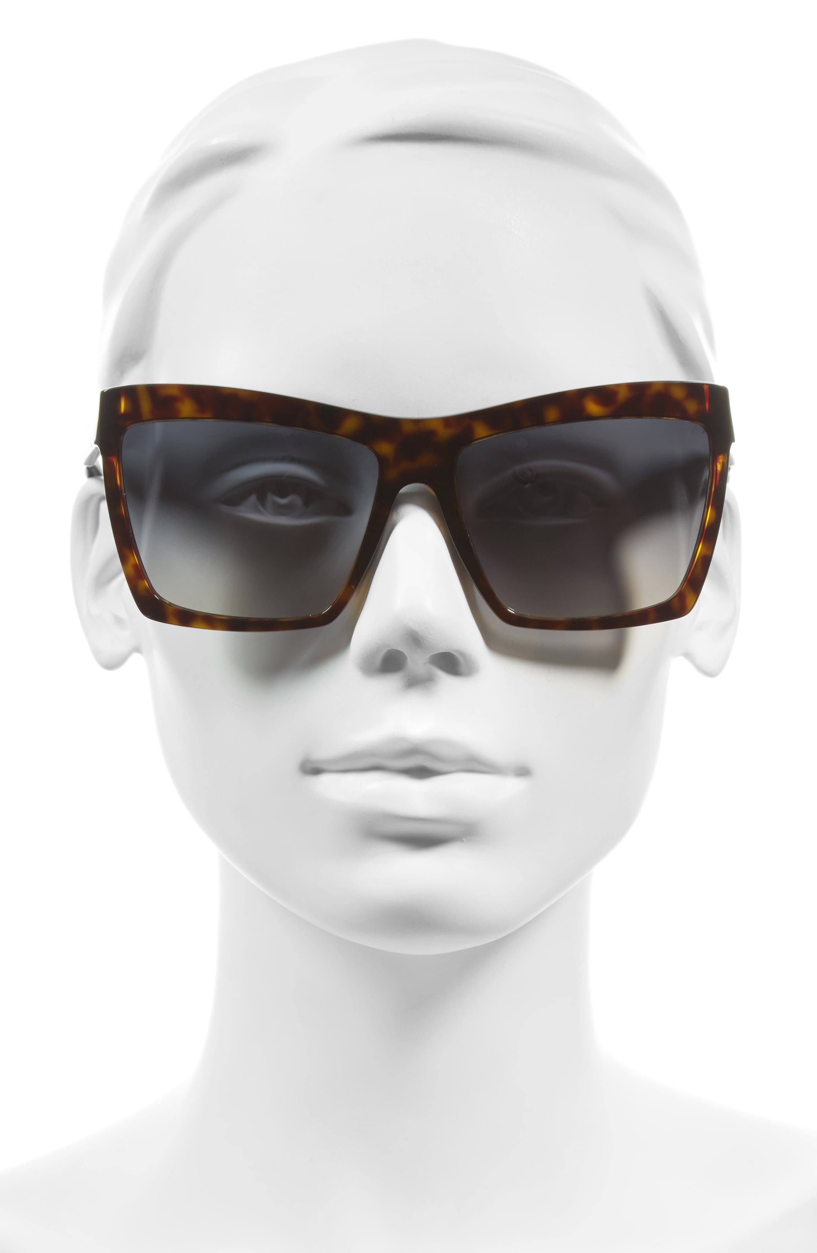 60mm Oversize Sunglasses,                             Alternate thumbnail 2, color,                             Havana/ Black/ Flash Azure