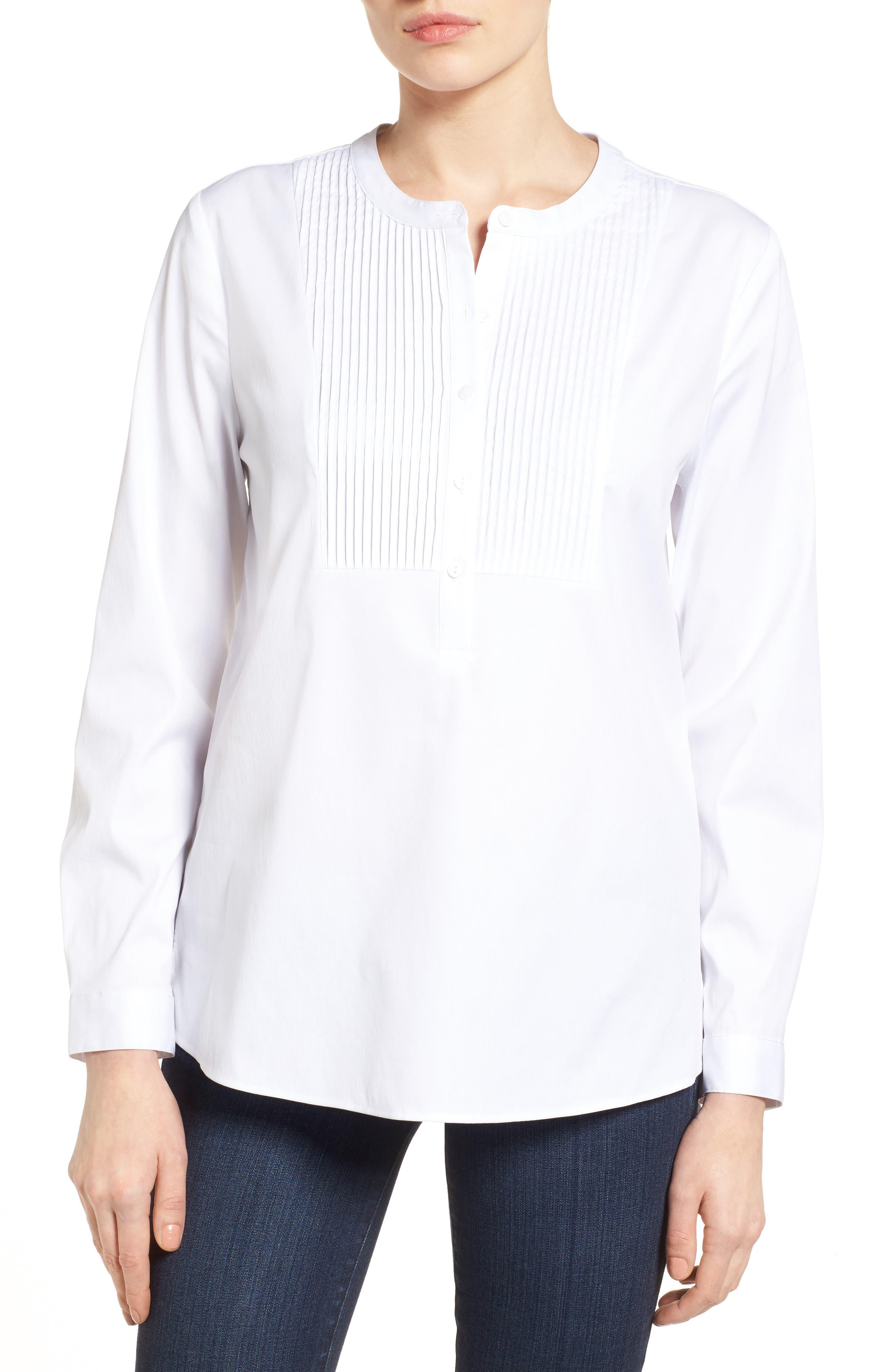 NYDJ Pintuck Bib Tunic Shirt