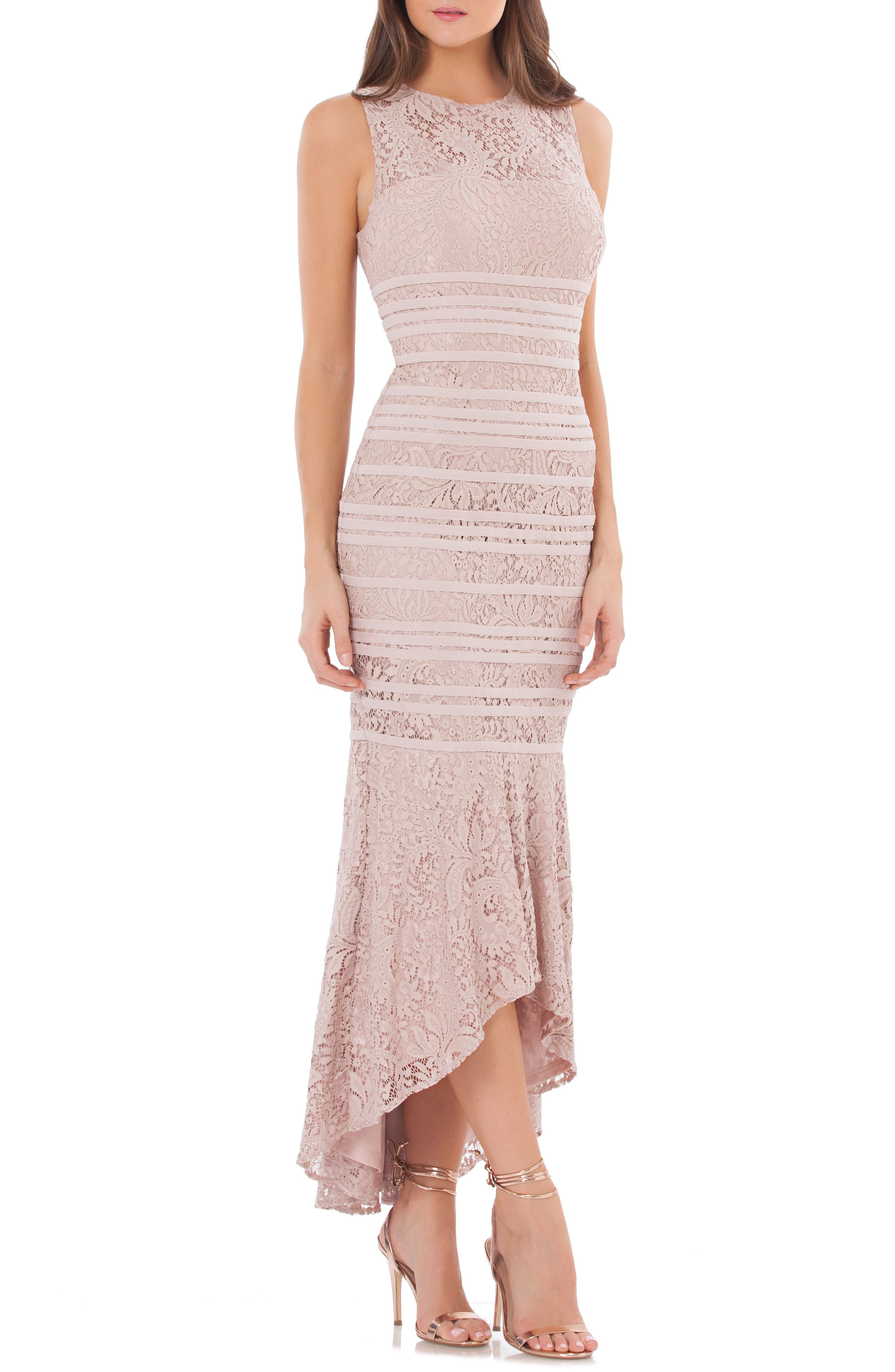 Lace High/Low Gown,                             Main thumbnail 1, color,                             Blush