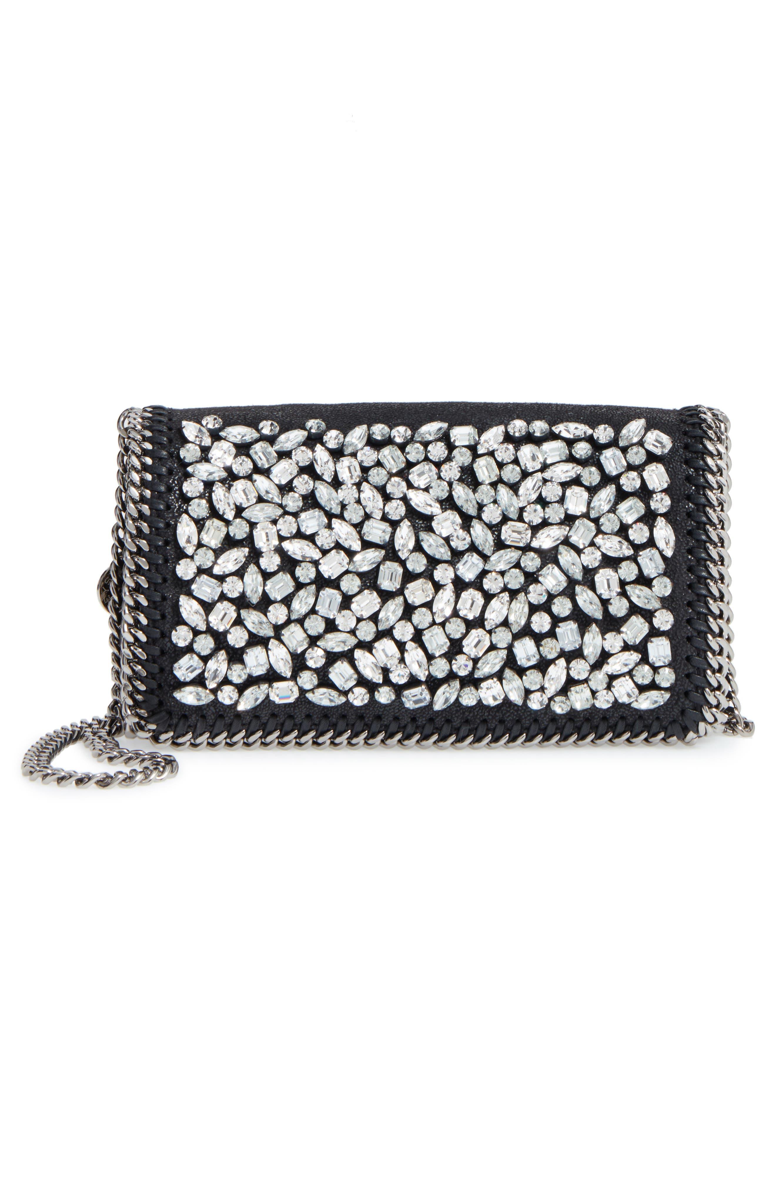 STELLA MCCARTNEY Small Fallabella Crystal Faux Leather Crossbody Bag