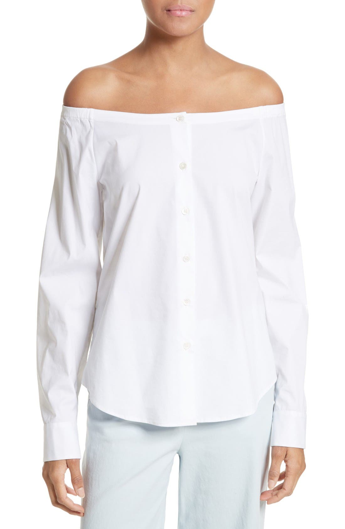 THEORY Auriana Stretch Cotton Off the Shoulder Top