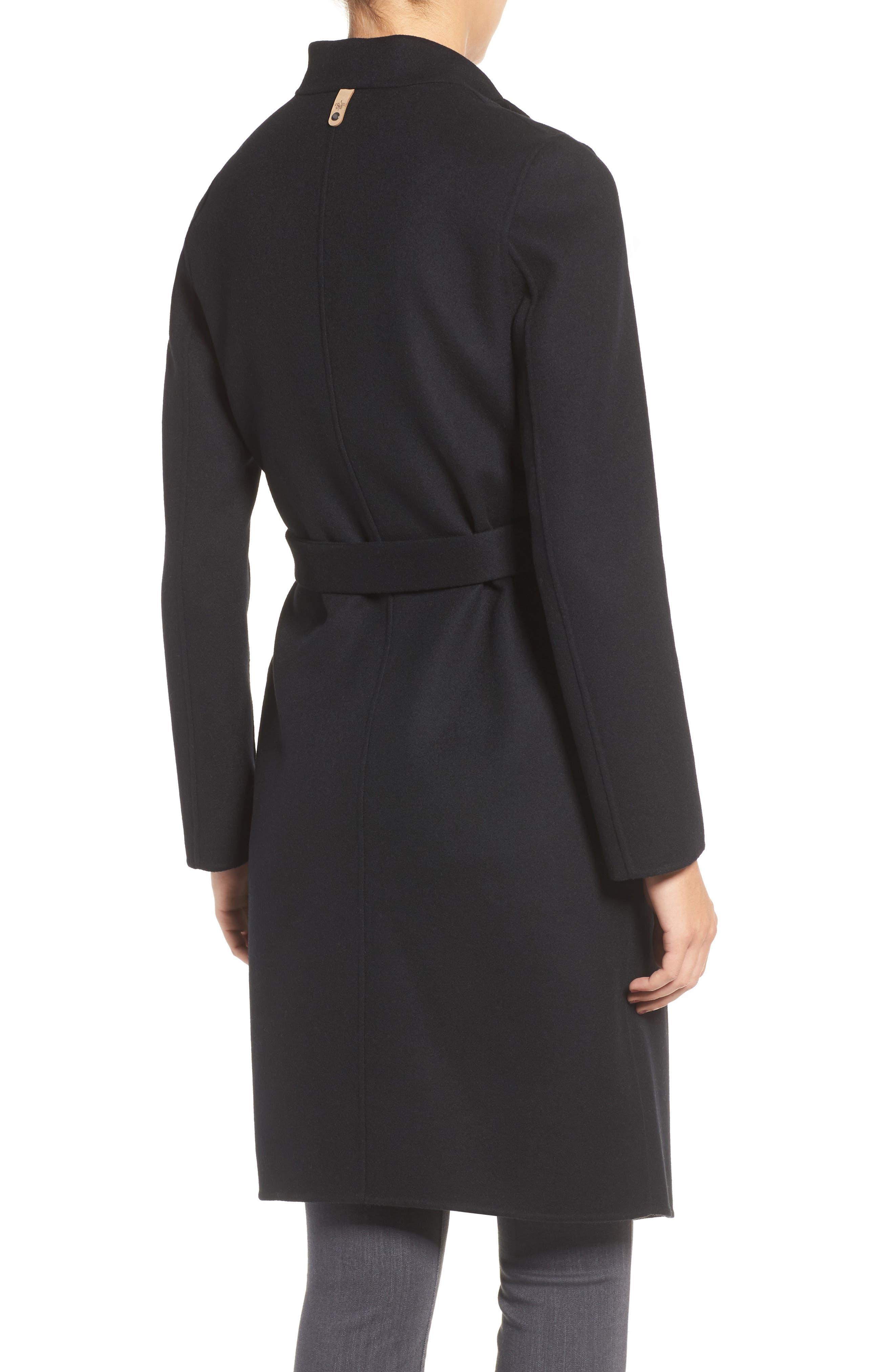 Belted Long Wool Coat,                             Alternate thumbnail 2, color,                             Black