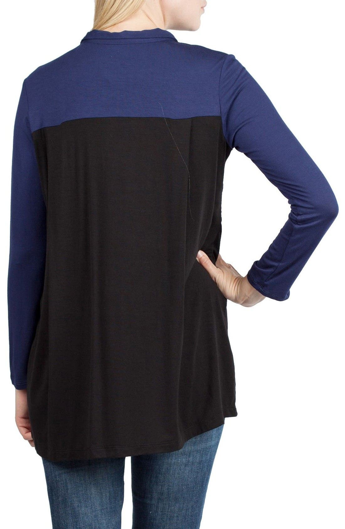 Berlin Maternity/Nursing Tunic Top,                             Alternate thumbnail 2, color,                             Black/ Navy Contrast