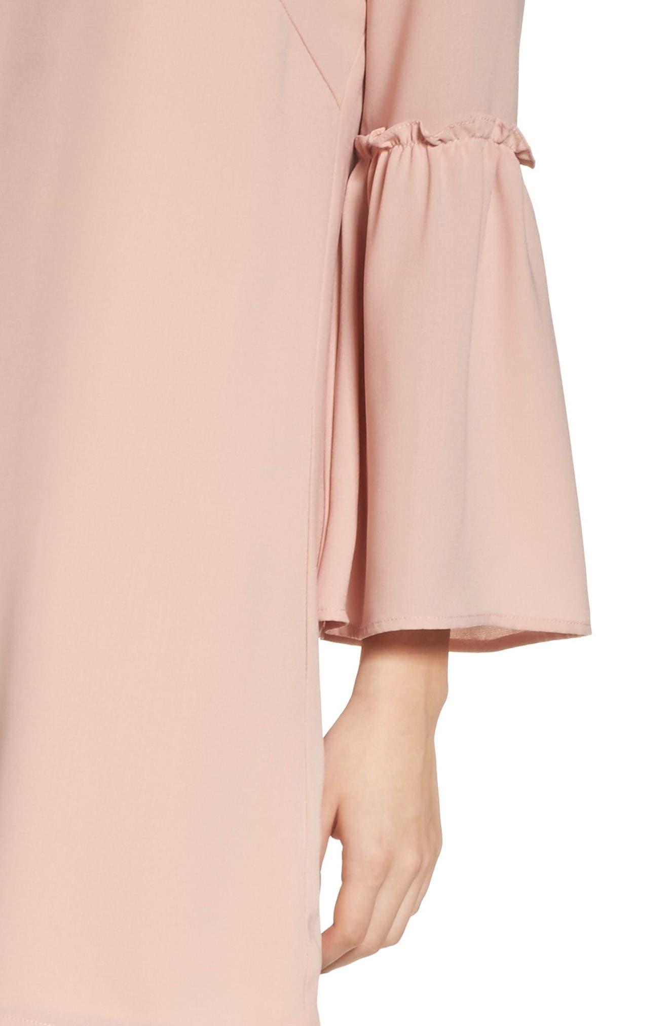 Ruffle Bell Sleeve Dress,                             Alternate thumbnail 5, color,                             Pink Dust