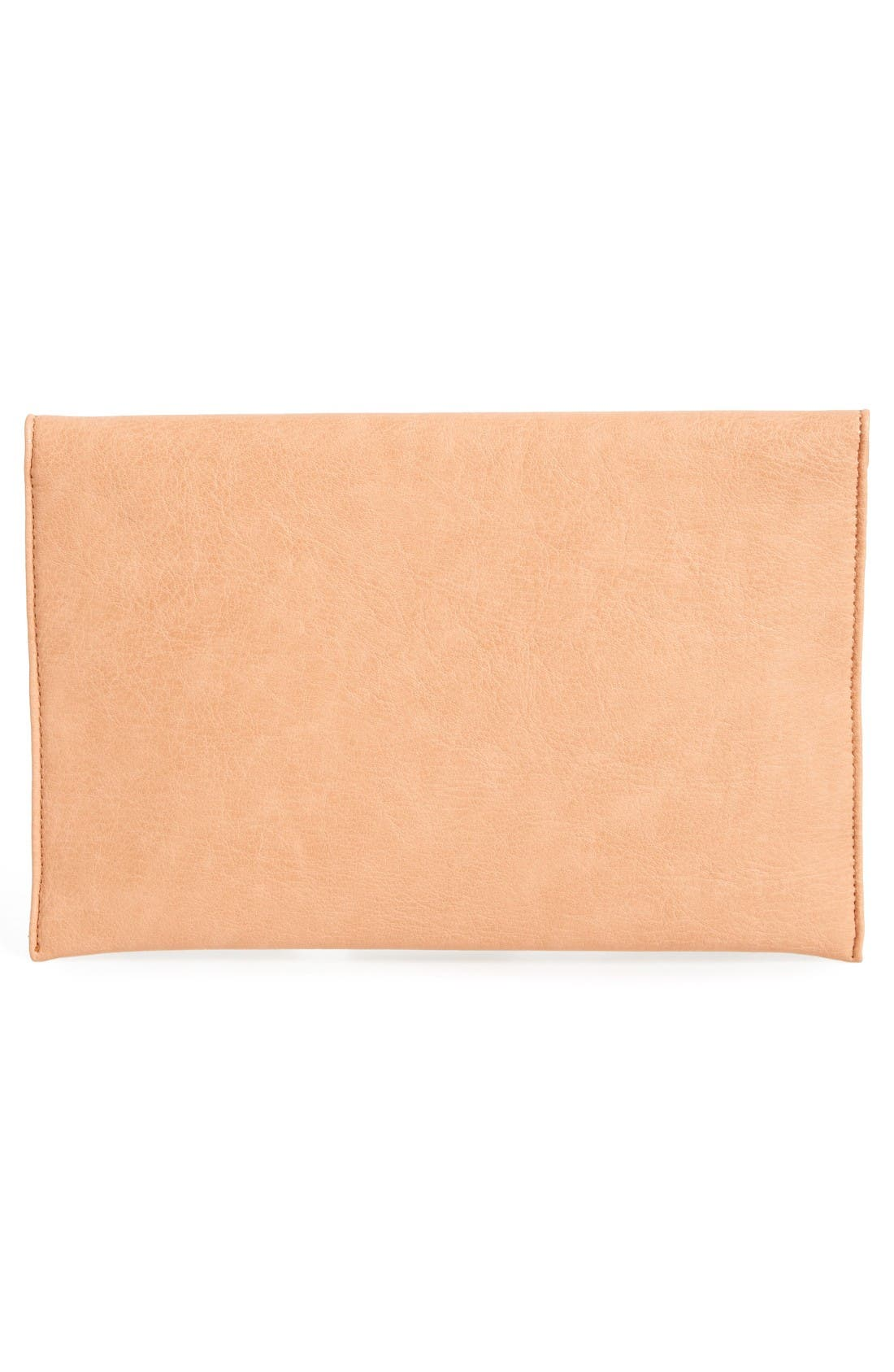 Faux Leather Envelope Clutch,                             Alternate thumbnail 3, color,                             Beige