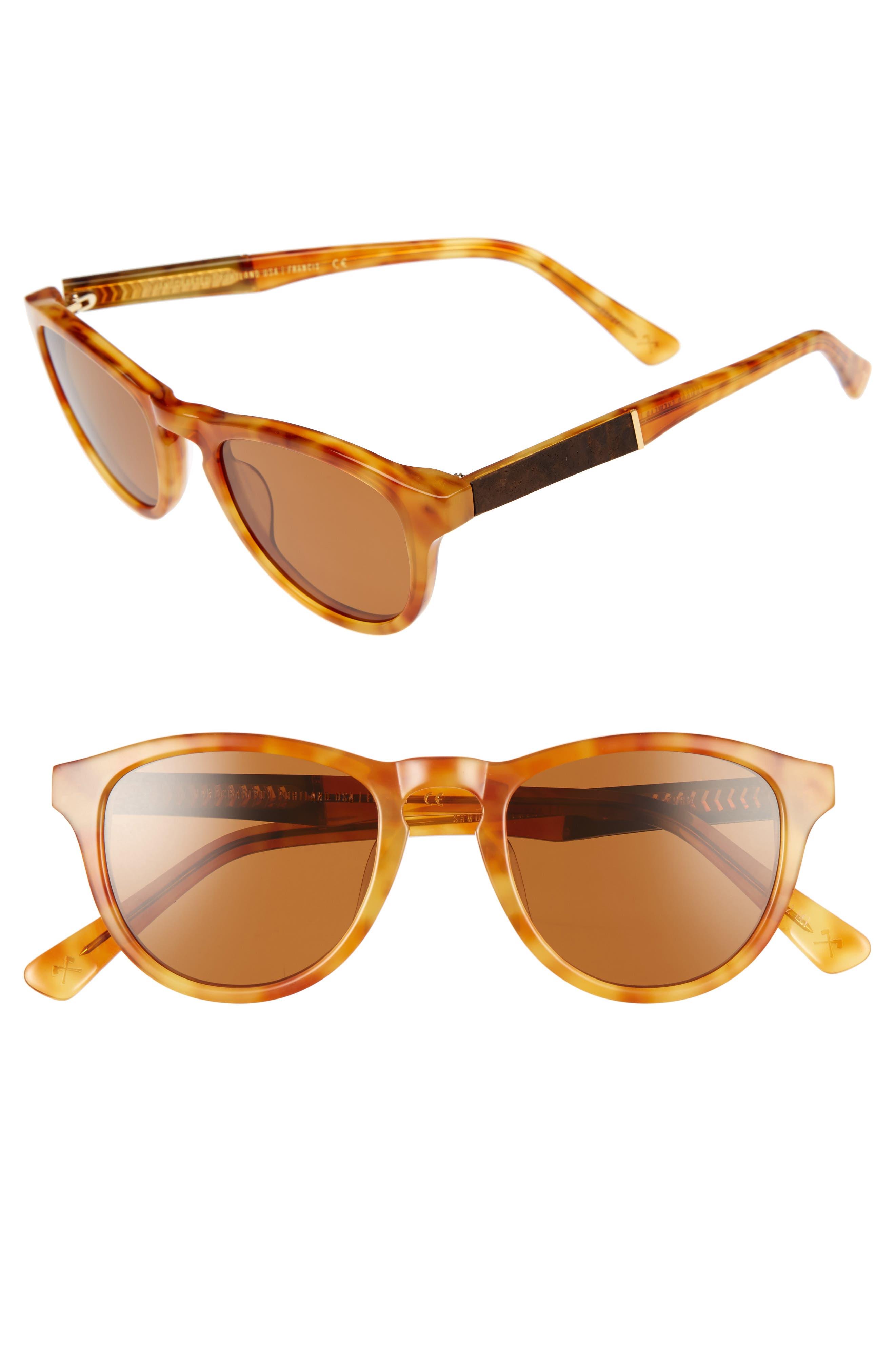 Ace 48mm Sunglasses,                             Main thumbnail 1, color,                             Amber/ Elm/ Brown Polar