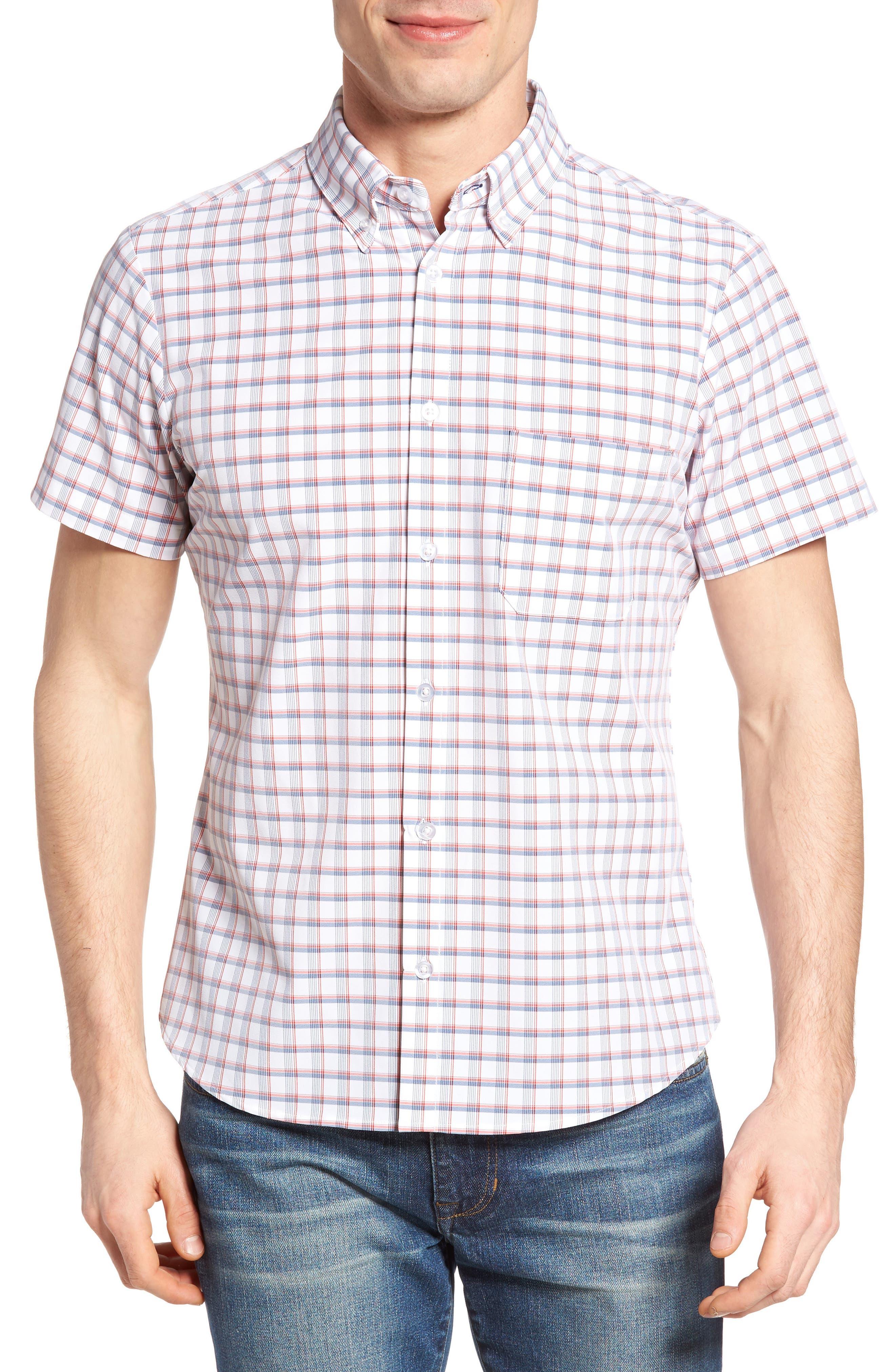 Sanford Slim Fit Plaid Performance Sport Shirt,                         Main,                         color, Red