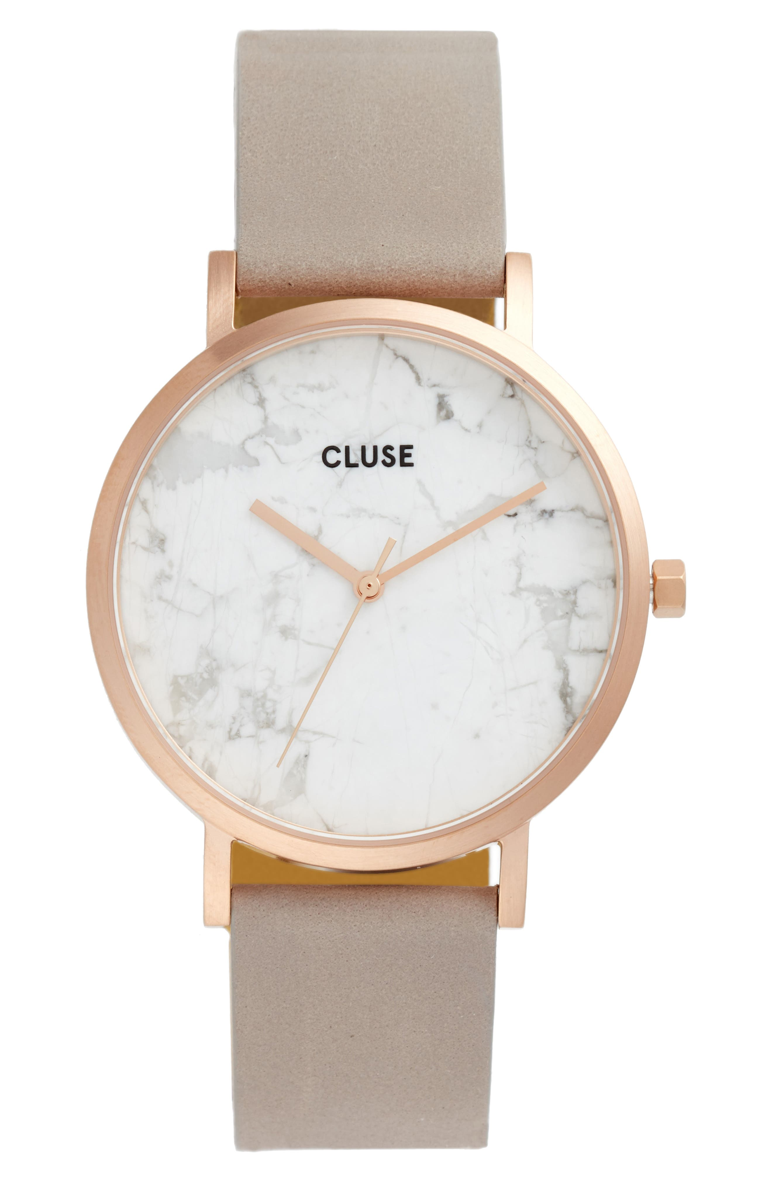 Main Image - CLUSE La Roche Marble Leather Strap Watch, 38mm
