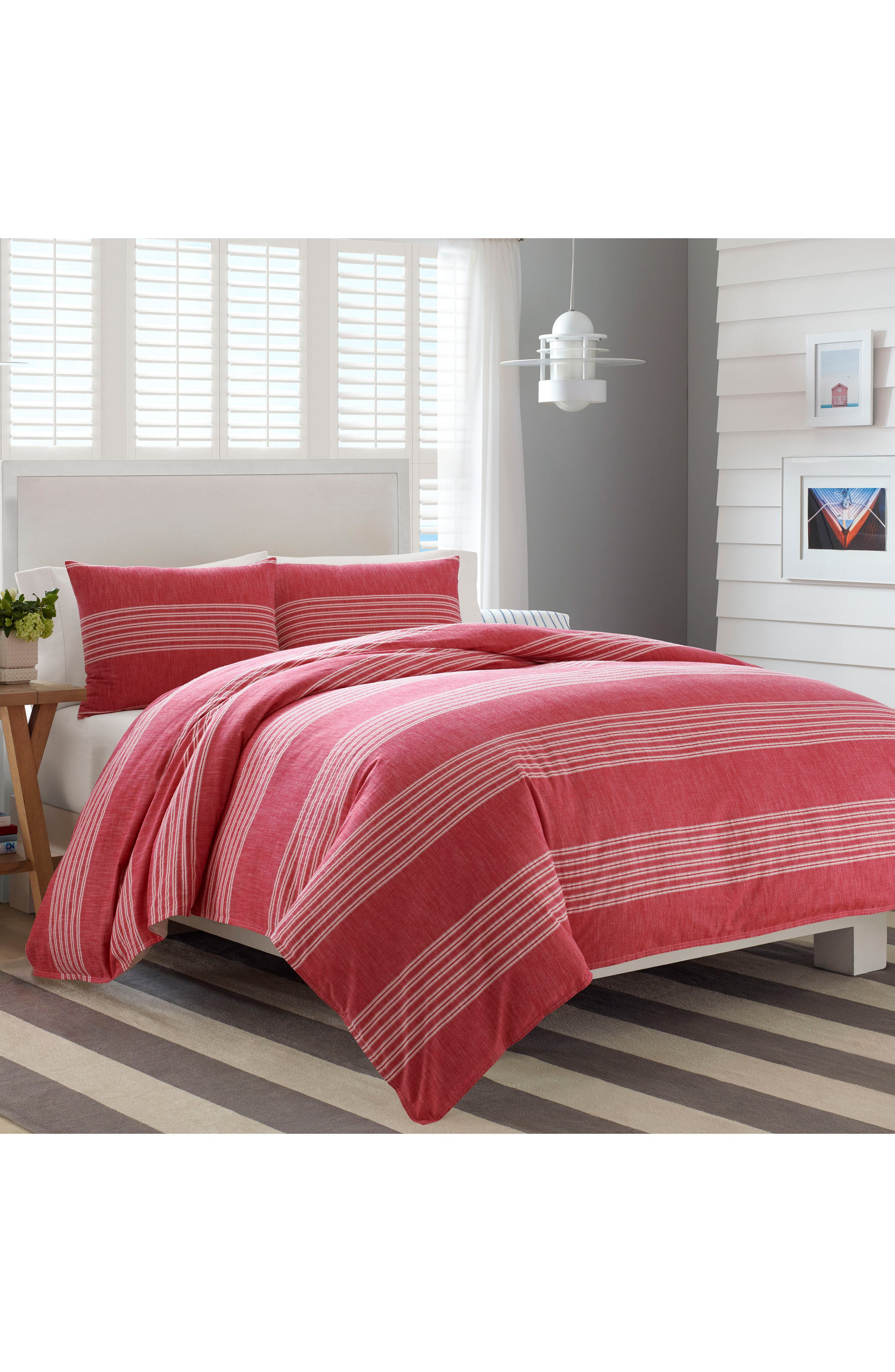 Trawler Duvet Cover & Sham Set,                         Main,                         color, Red