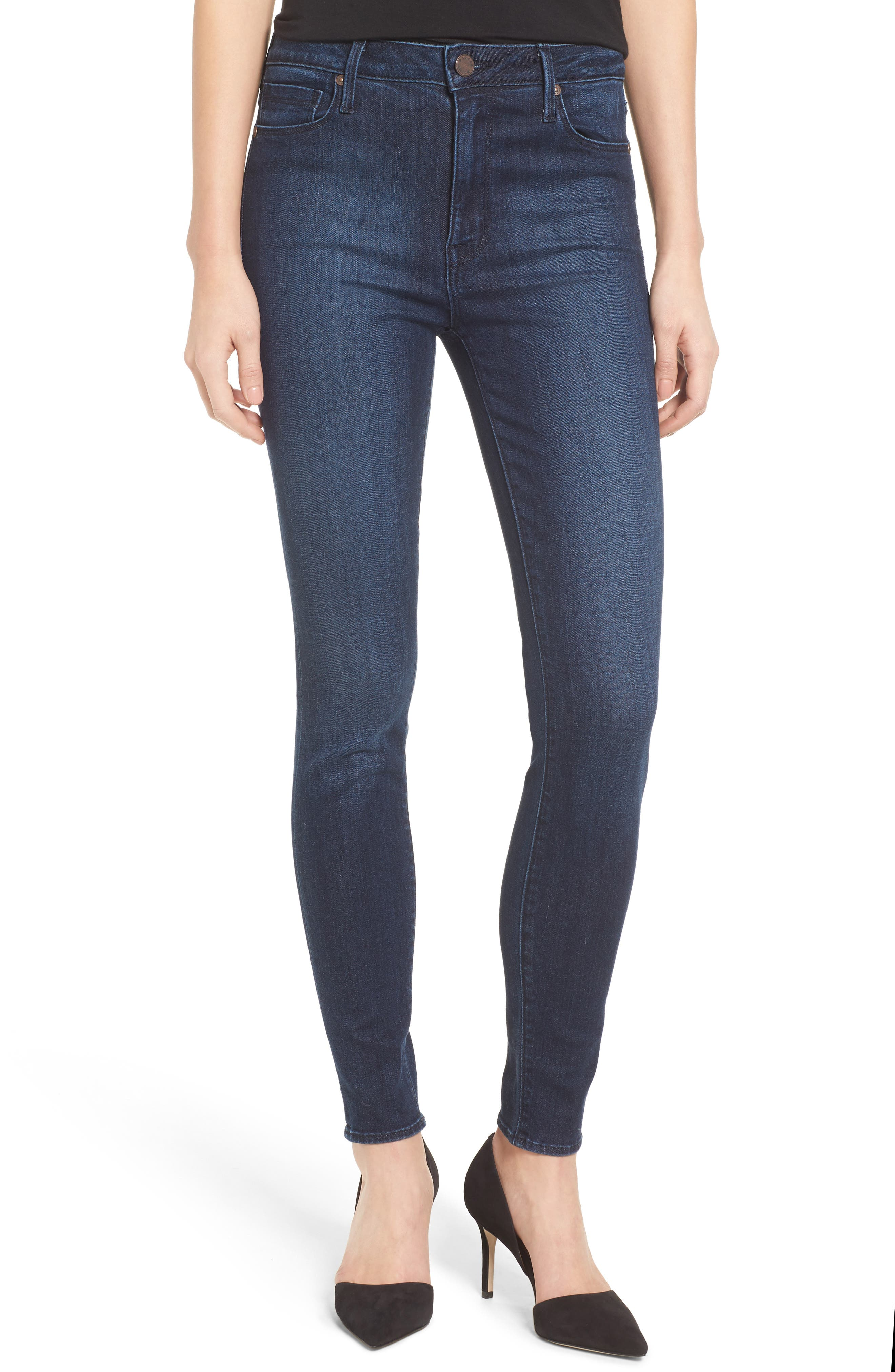 Main Image - PARKER SMITH Bombshell High Waist Stretch Skinny Jeans (Baltic)