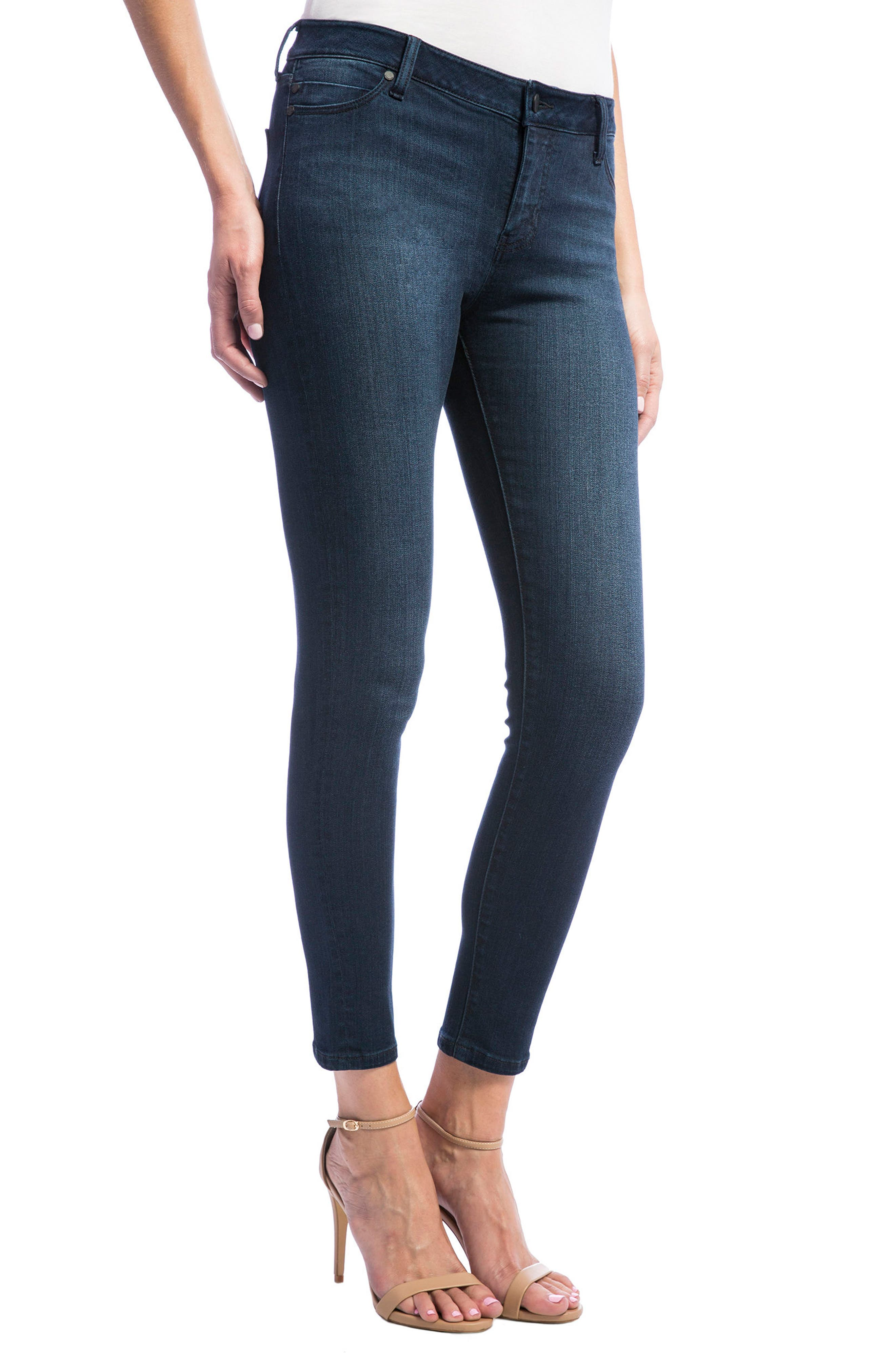 High Rise Stretch Ankle Skinny Jeans,                             Alternate thumbnail 4, color,                             Doheny Dark