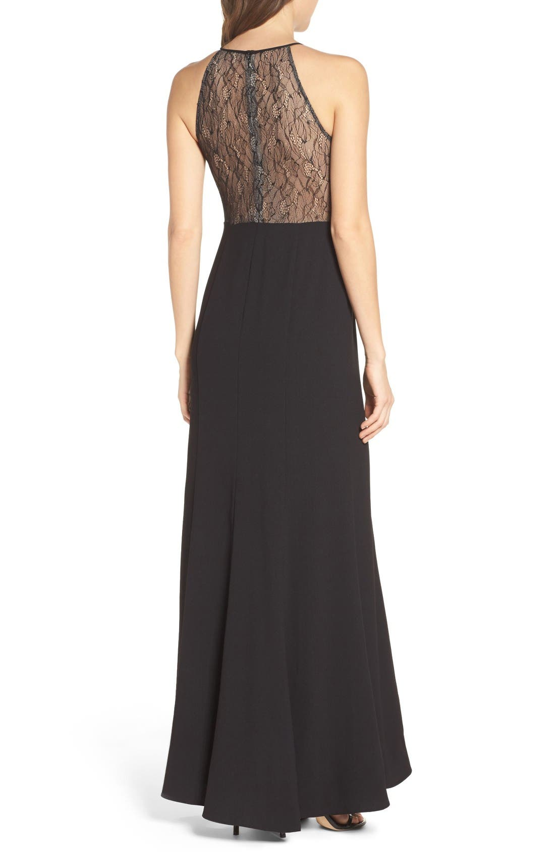 Alternate Image 2  - Aidan by Aidan Mattox Crepe & Lace Halter Style Gown