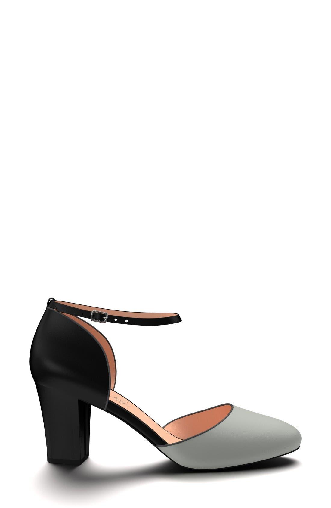 Block Heel d'Orsay Pump,                             Alternate thumbnail 4, color,                             Black Leather