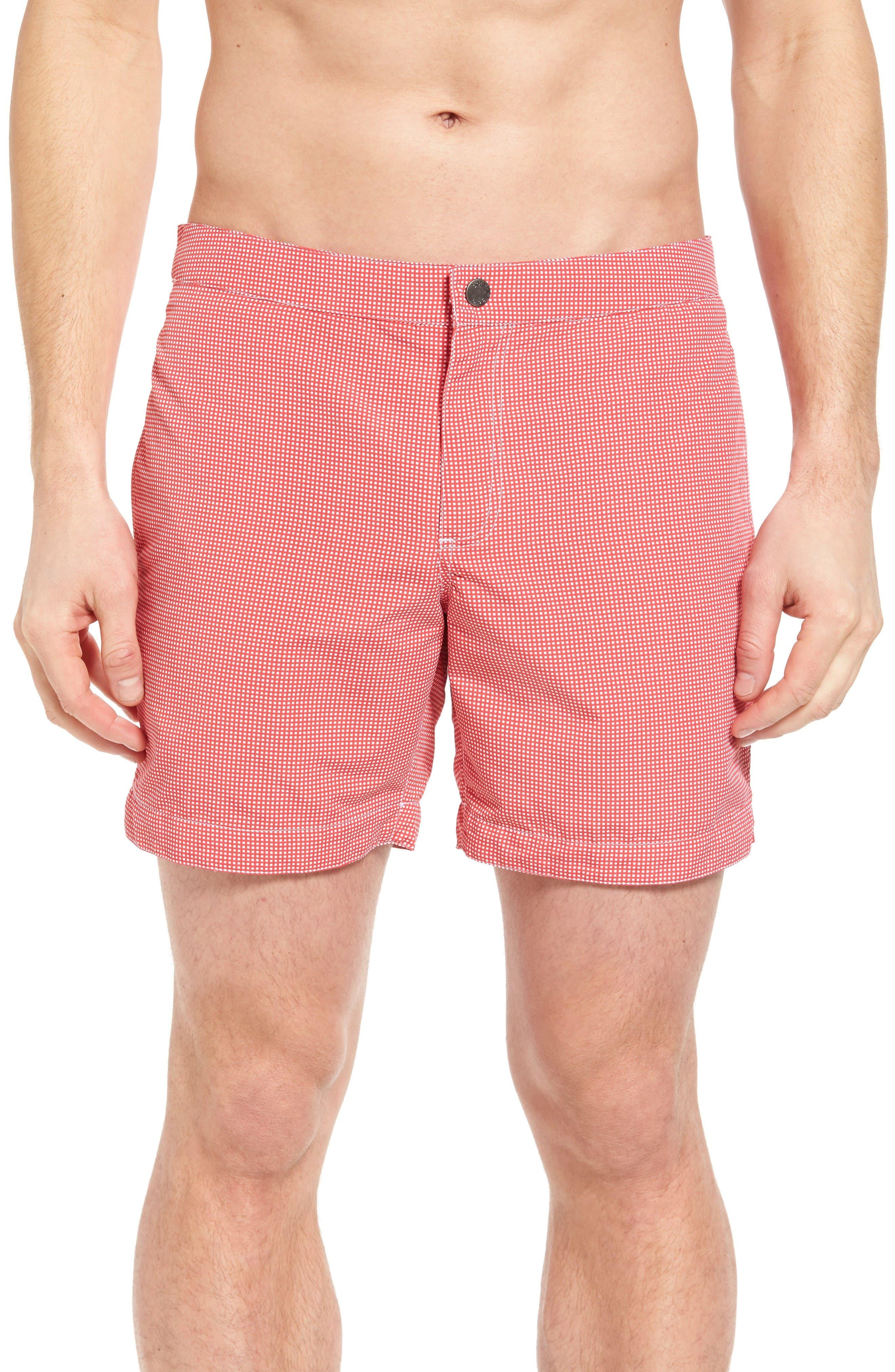 Aruba Micro Check Tailored Fit 6.5 Inch Swim Trunks,                         Main,                         color, Coral