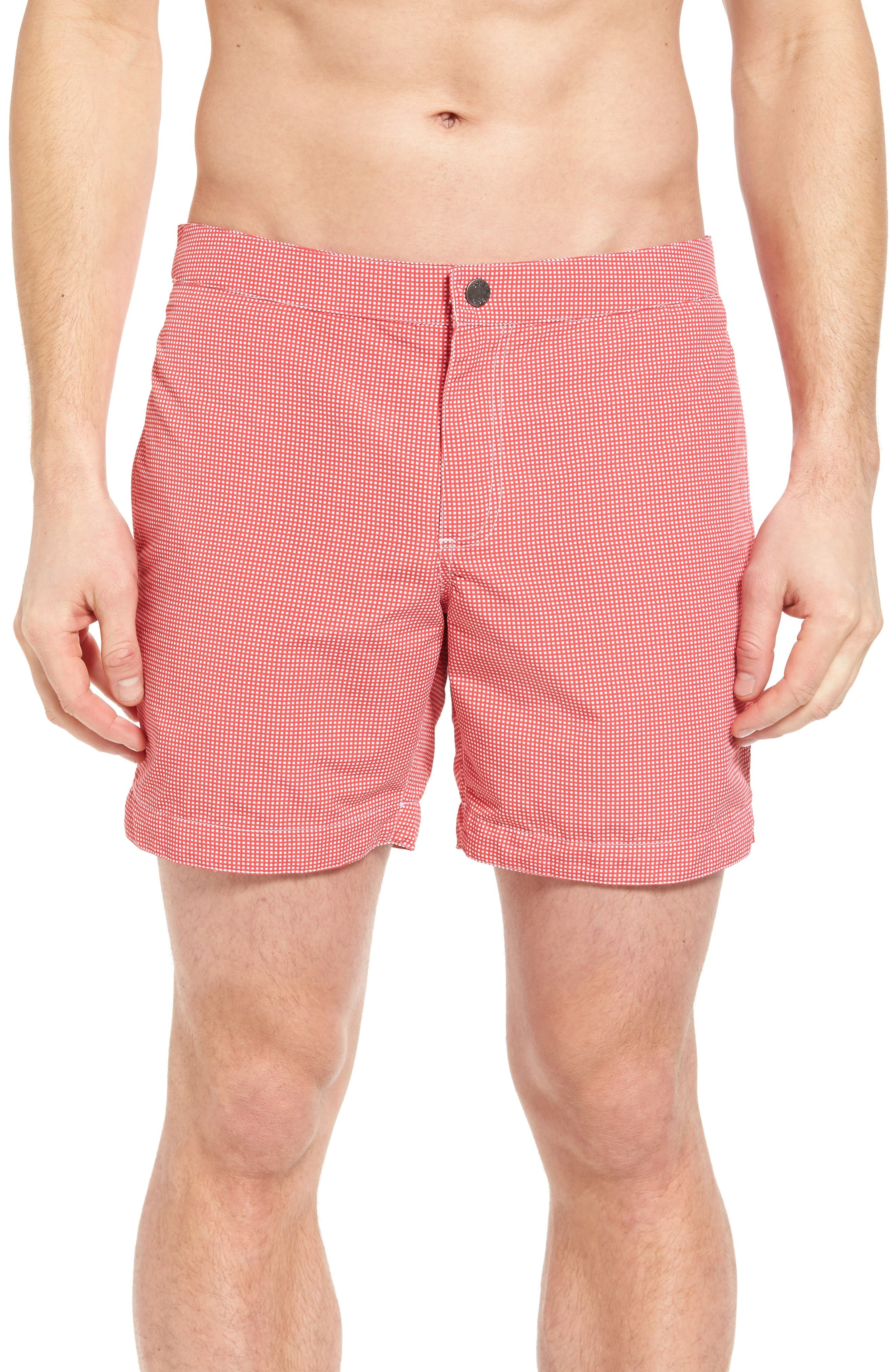 boto Aruba Micro Check Tailored Fit 6.5 Inch Swim Trunks