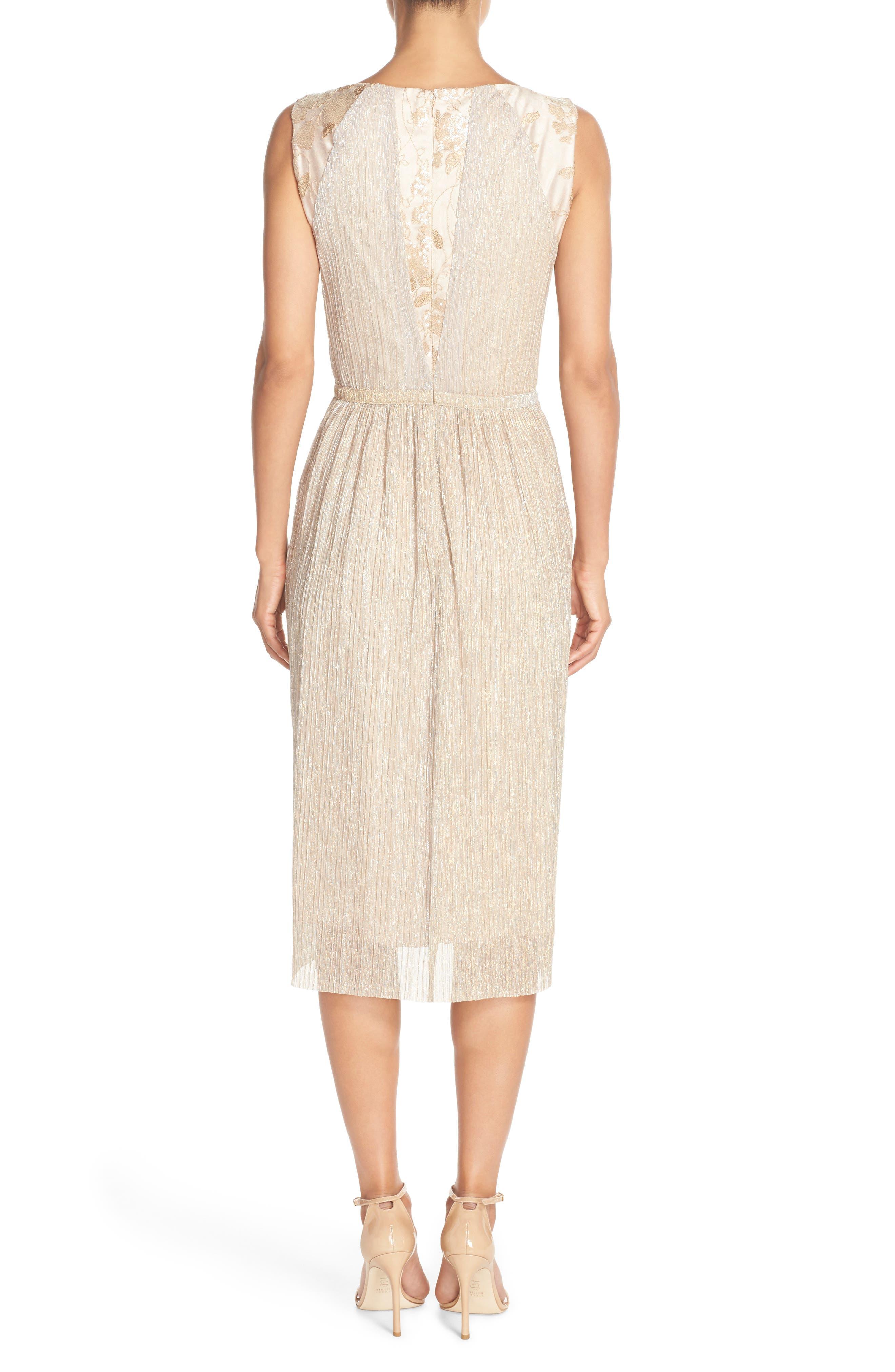 Alternate Image 2  - Tahari Metallic Pleated Midi Dress (Regular & Petite)